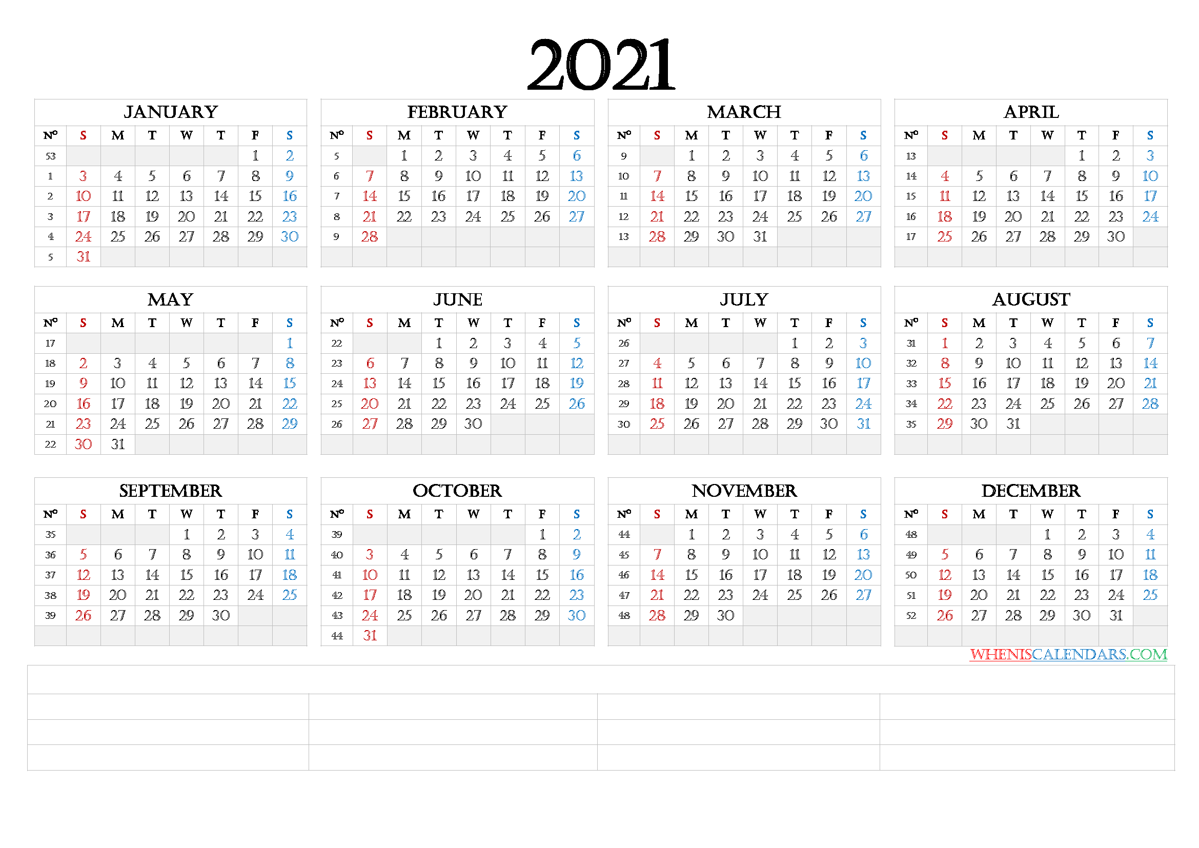 2021 Calendar with Week Numbers Printable (6 Templates ...