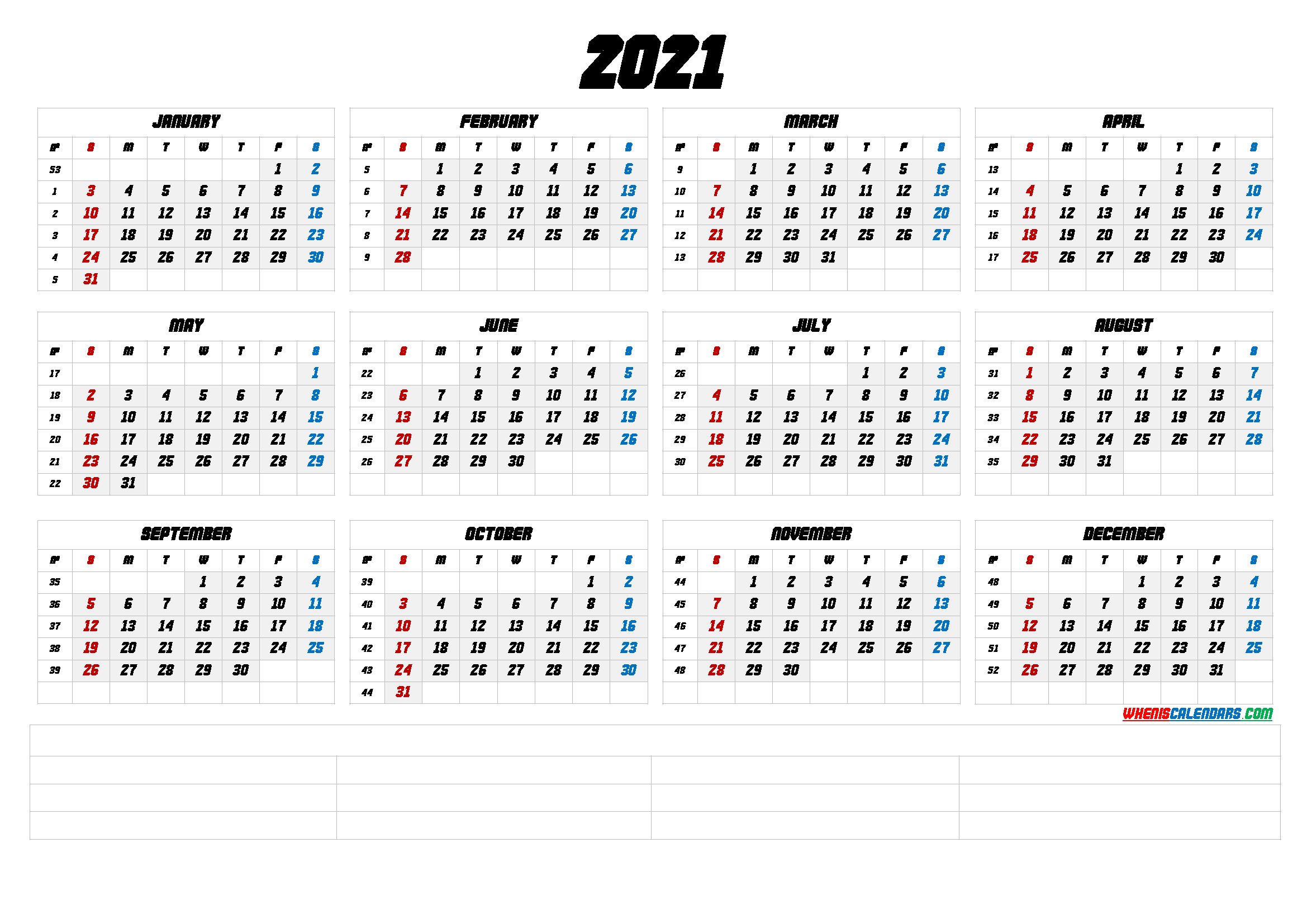 2021 Free Printable Yearly Calendar with Week Numbers