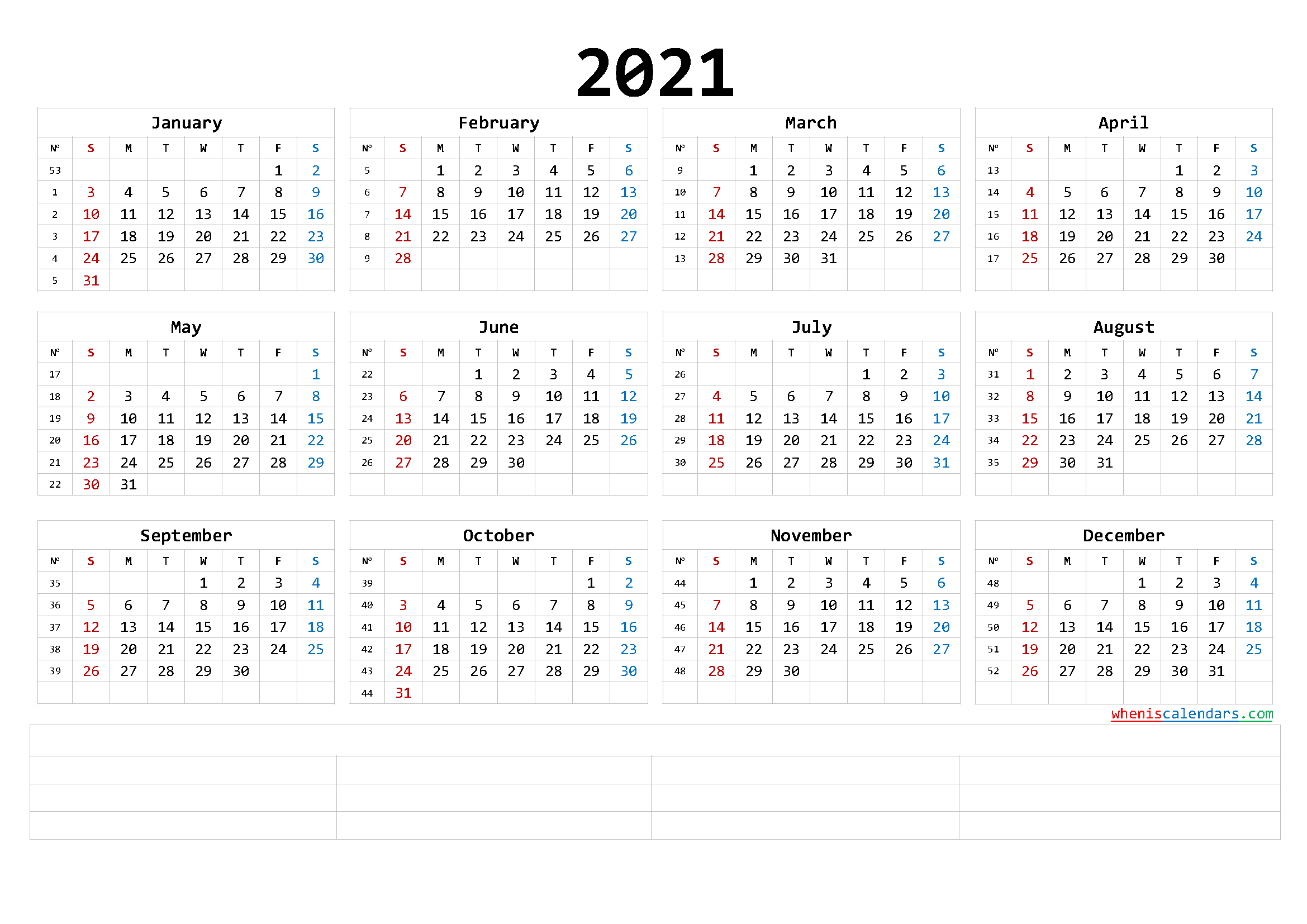 Printable 2021 Yearly Calendar