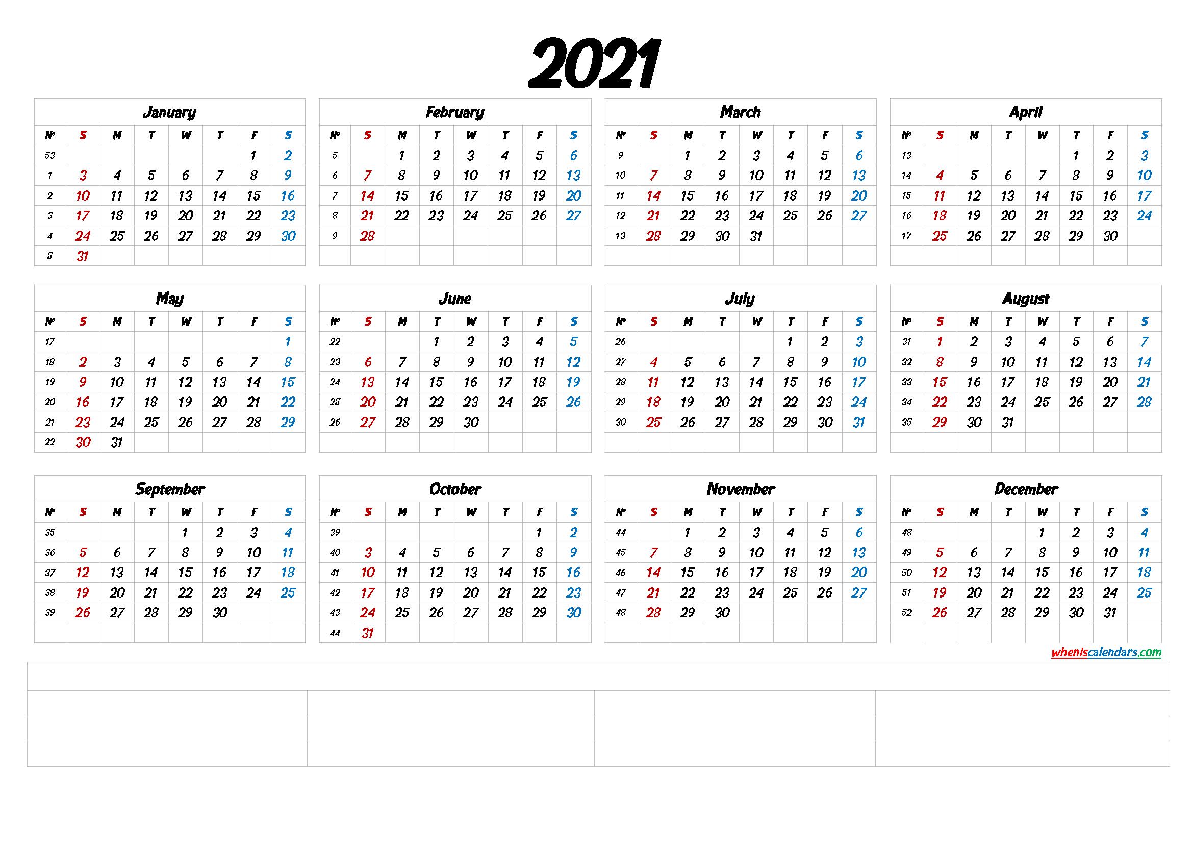 2021 Calendar with Week Numbers Printable (6 Templates ...