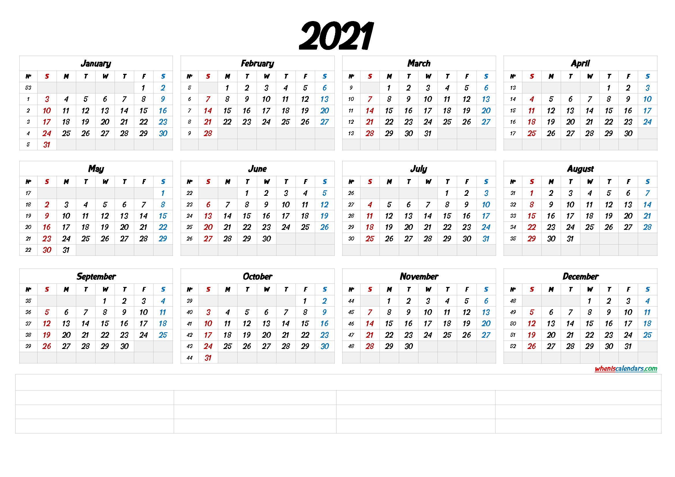 Printable 2021 Calendar with Week Numbers