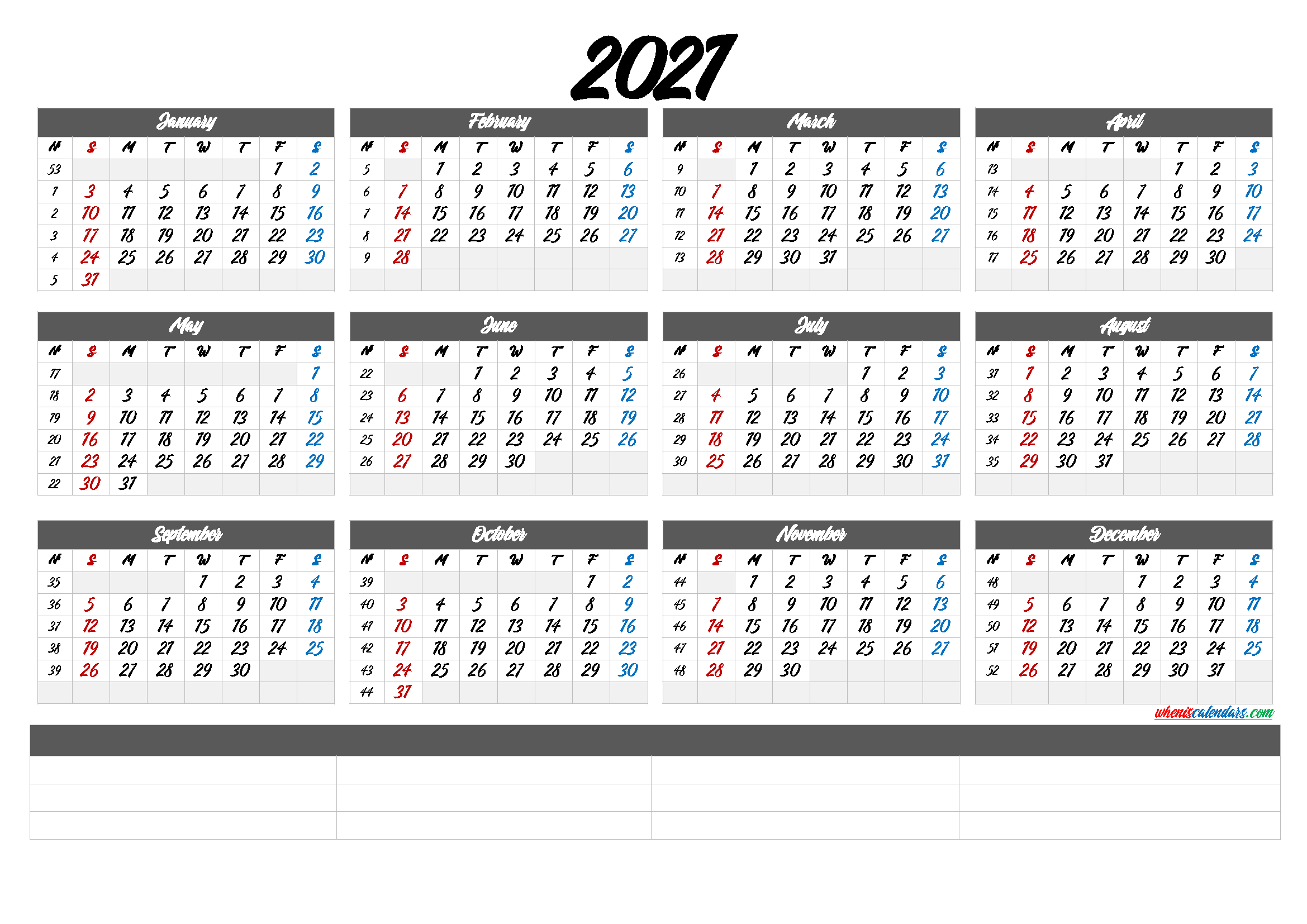 Printable 2021 Calendar with Week Numbers (6 Templates)