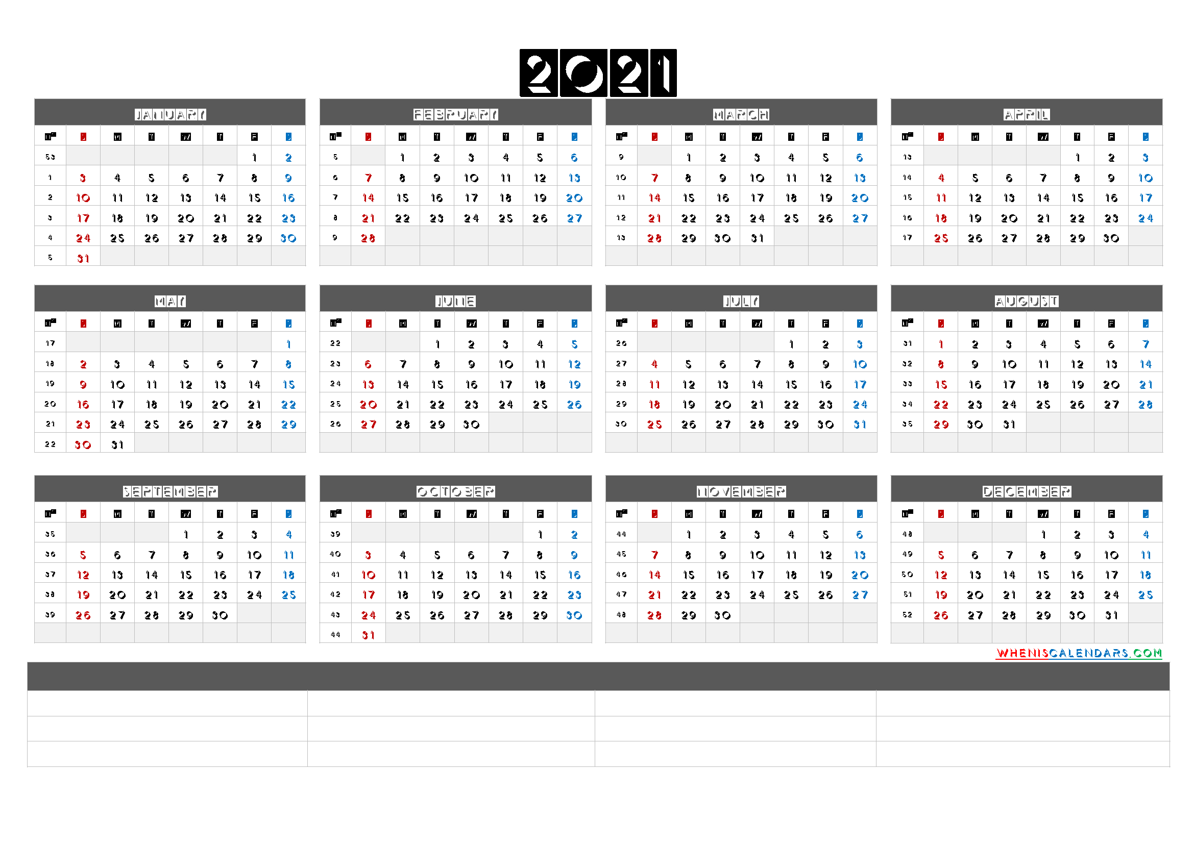 Free Printable 2021 Yearly Calendar with Week Numbers (6 ...