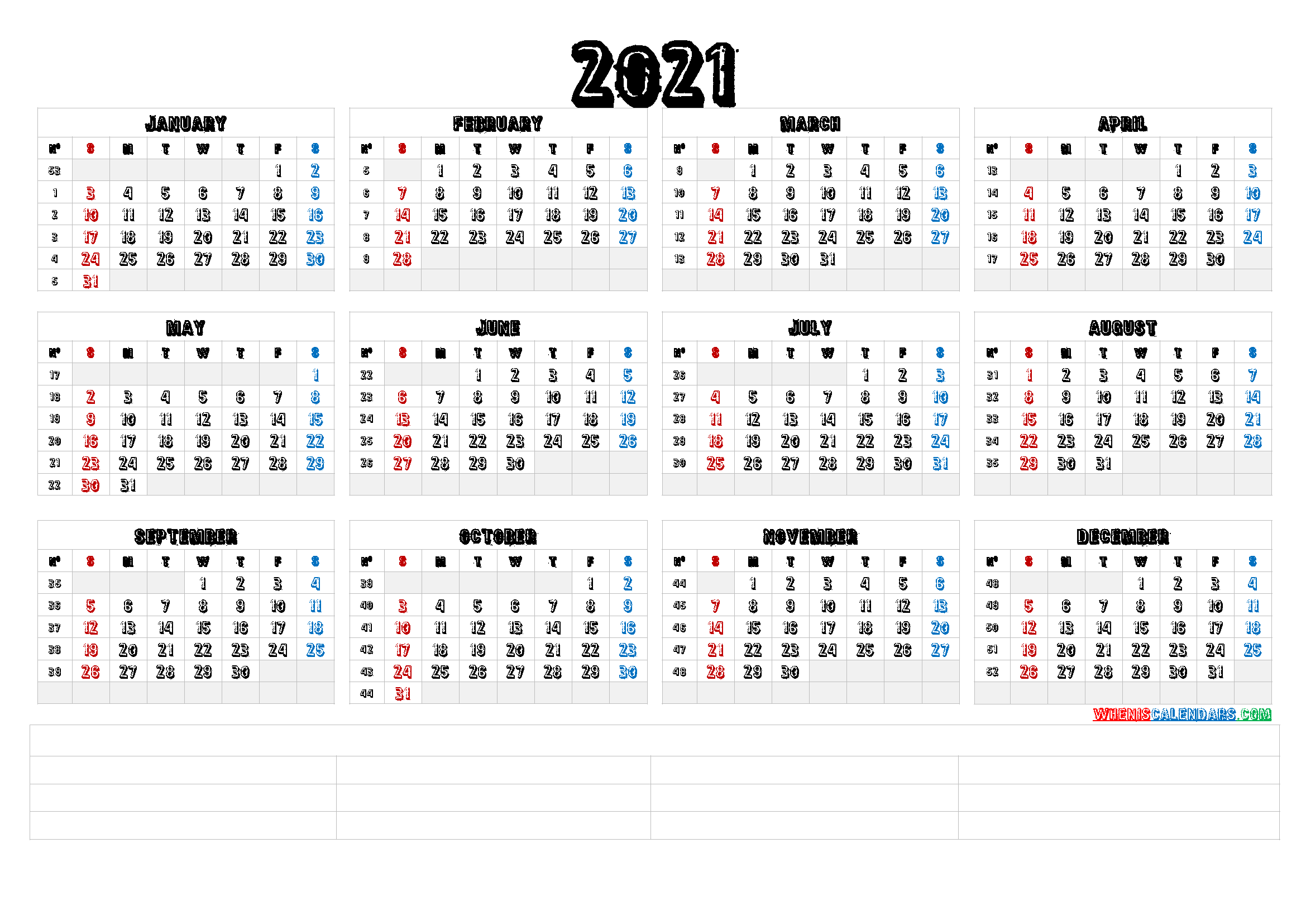 2021 Calendar With Week Number Printable Free : Week ...