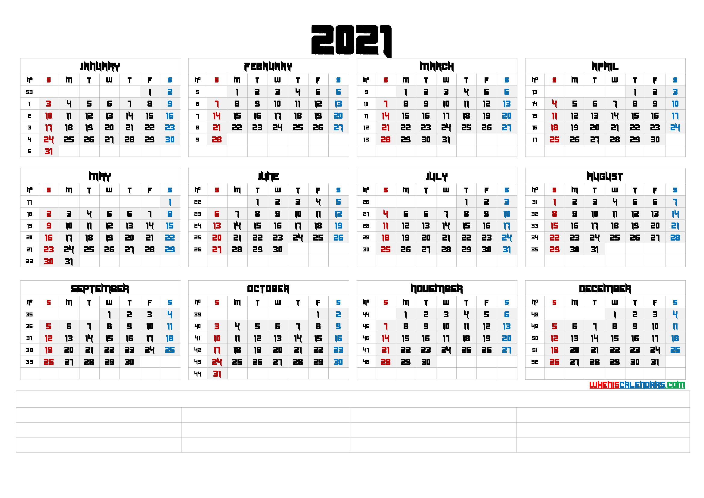 Cute Printable Calendar 2021