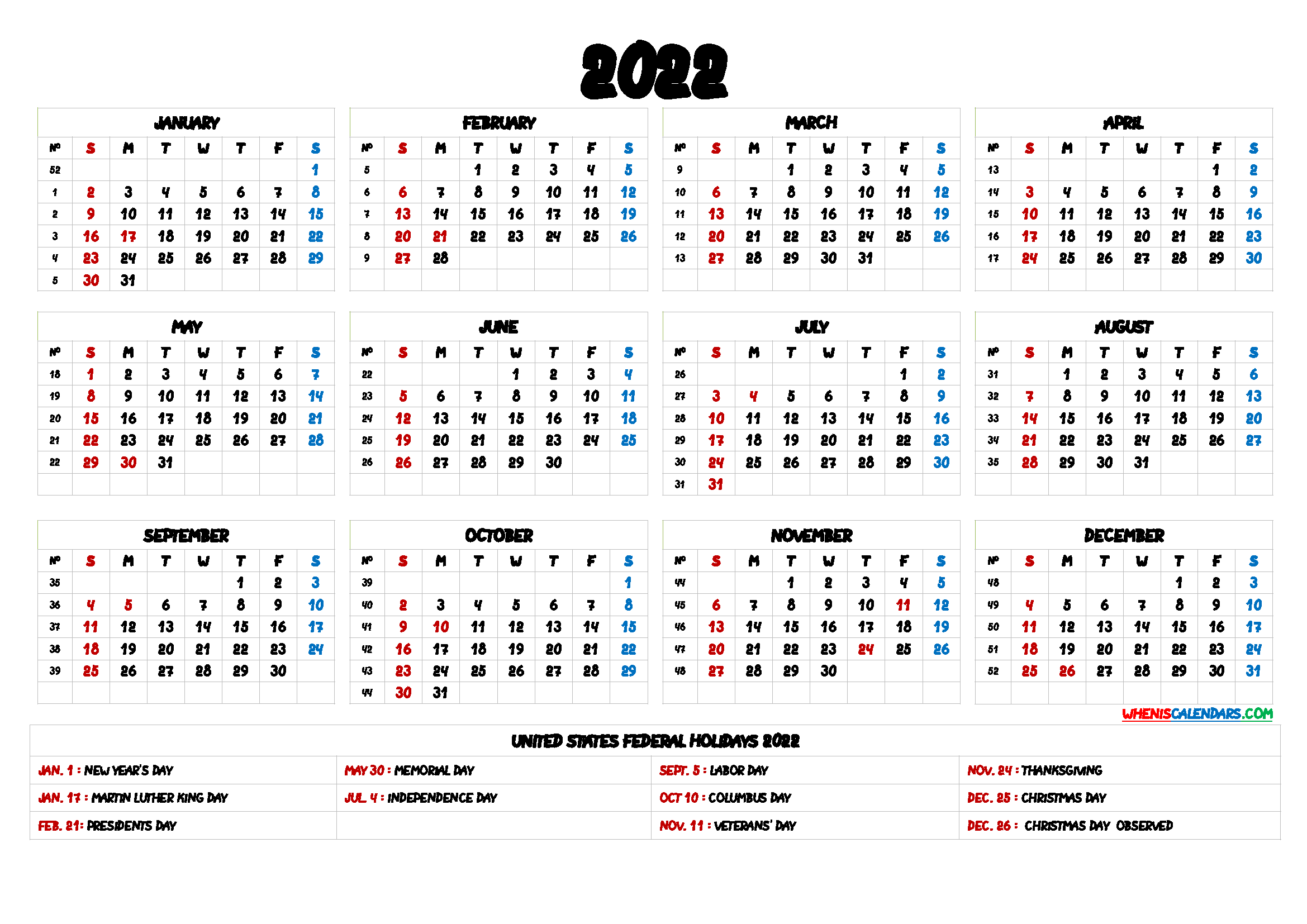 Free Printable 2022 Calendar with Holidays US