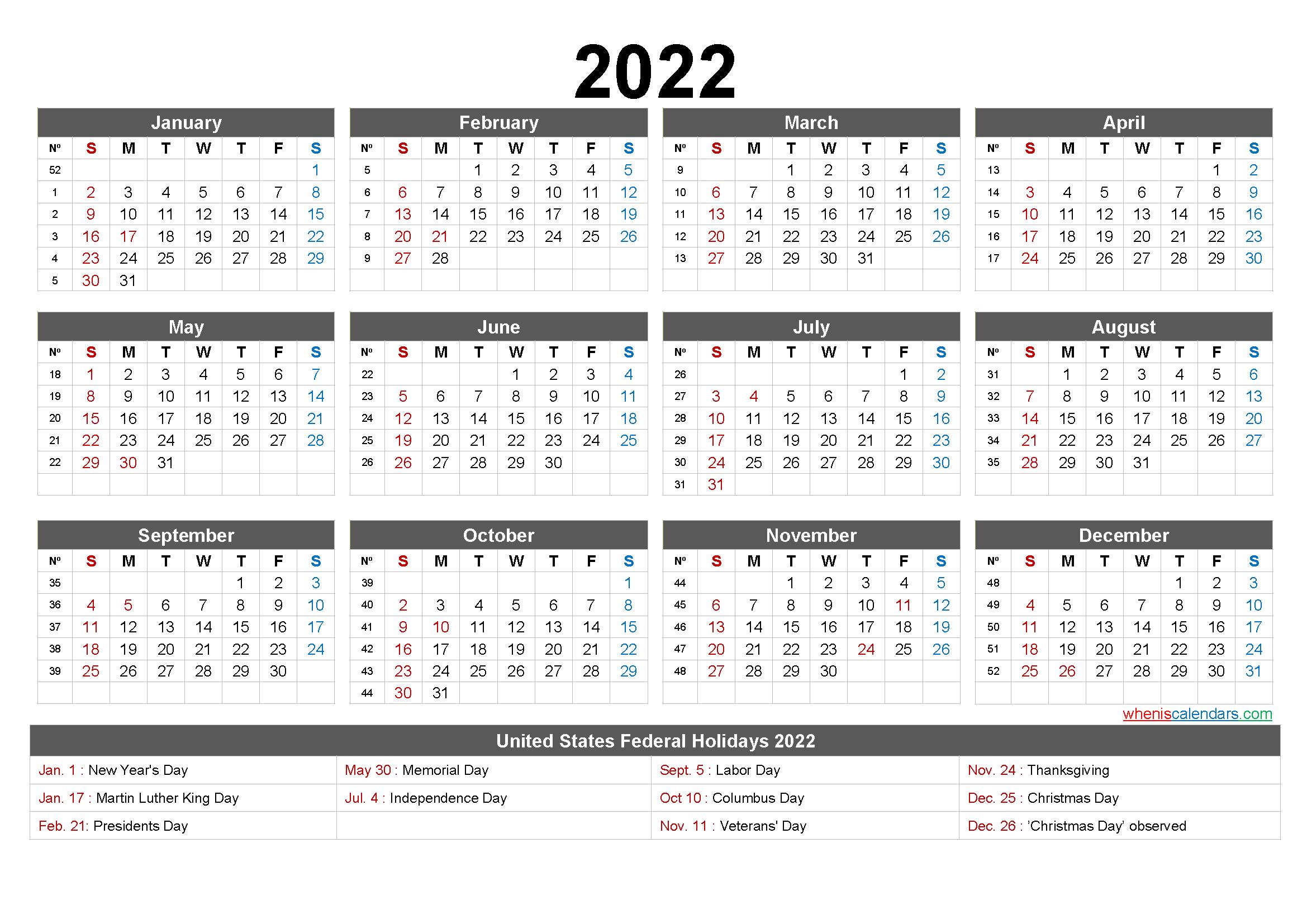 Free Printable 12 Month Calendar 2022