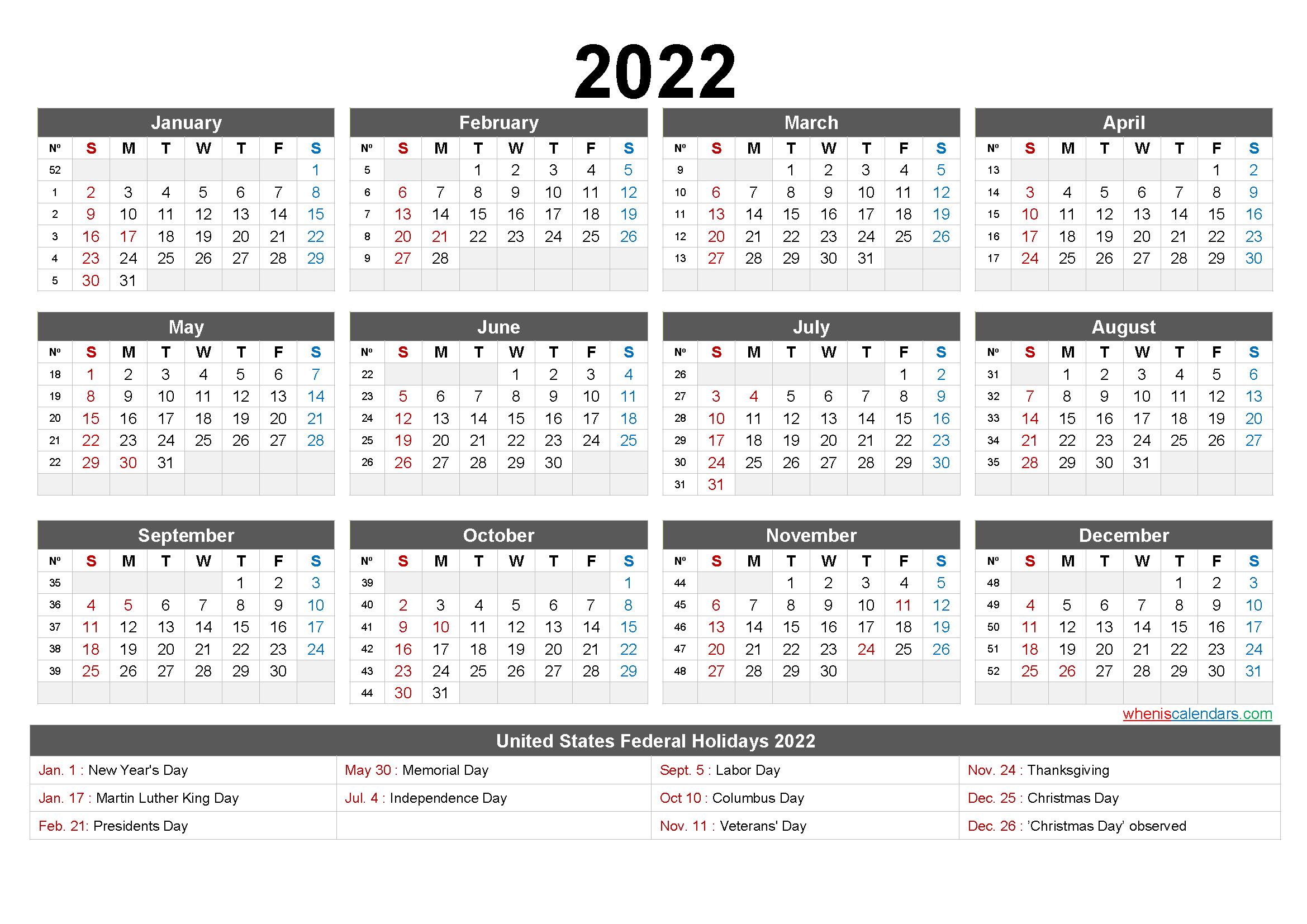 Printable 2022 Calendar with Holidays