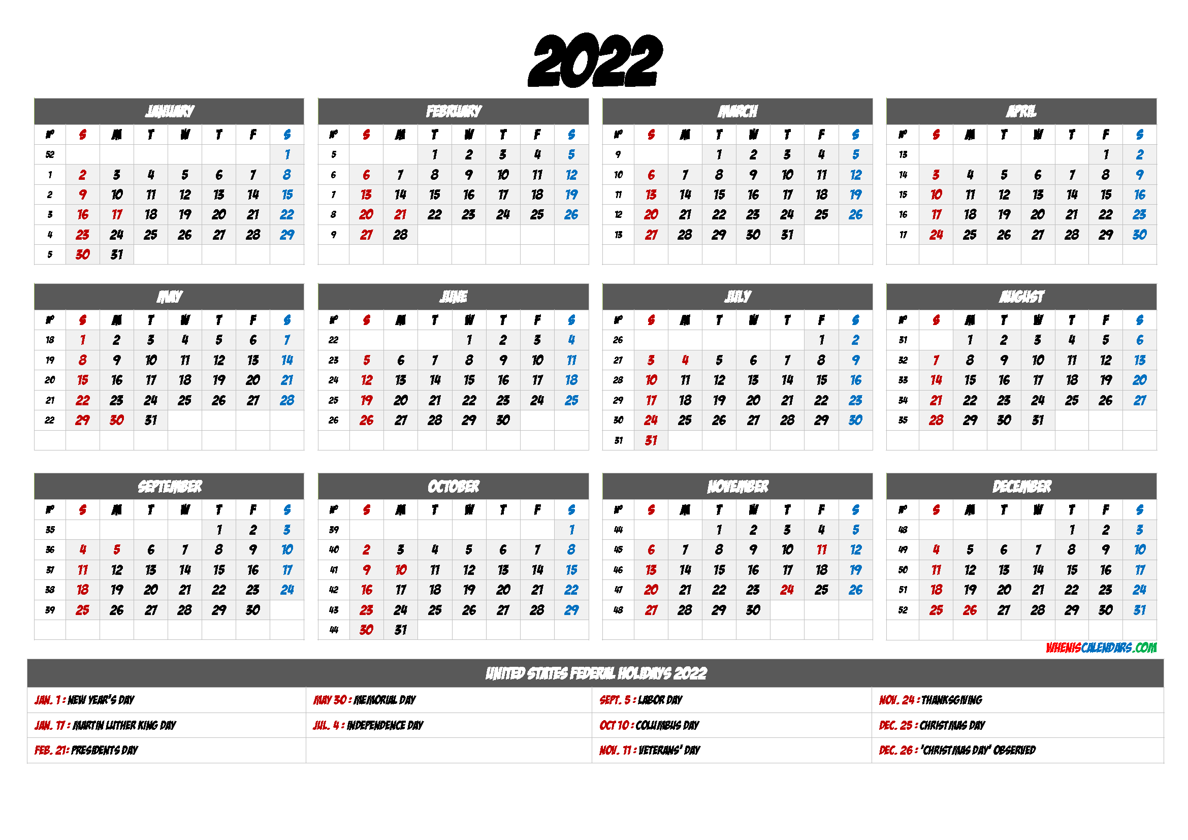 Printable 12 Month Calendar on One Page 2022