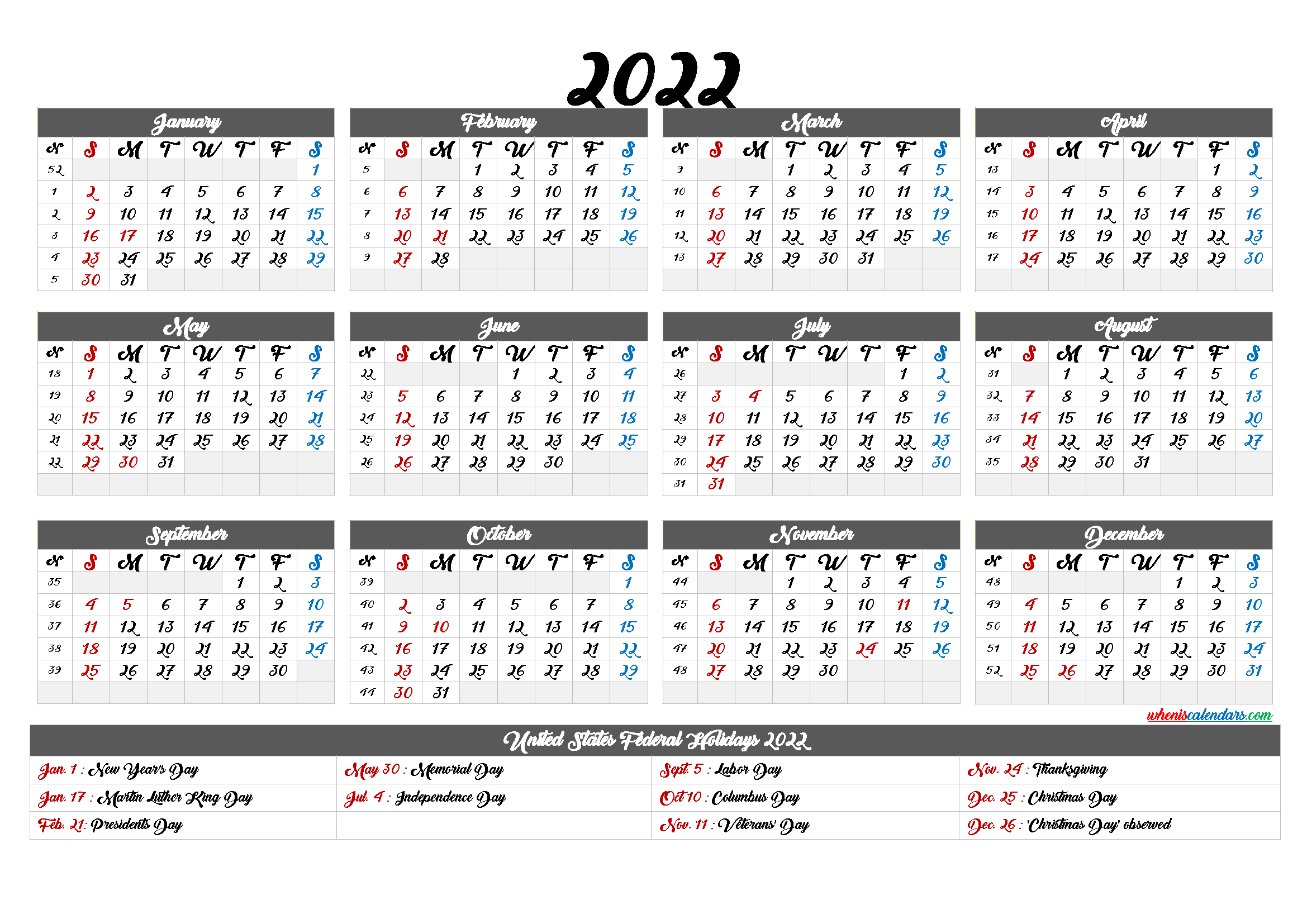 Free Printable 2022Yearly Calendar