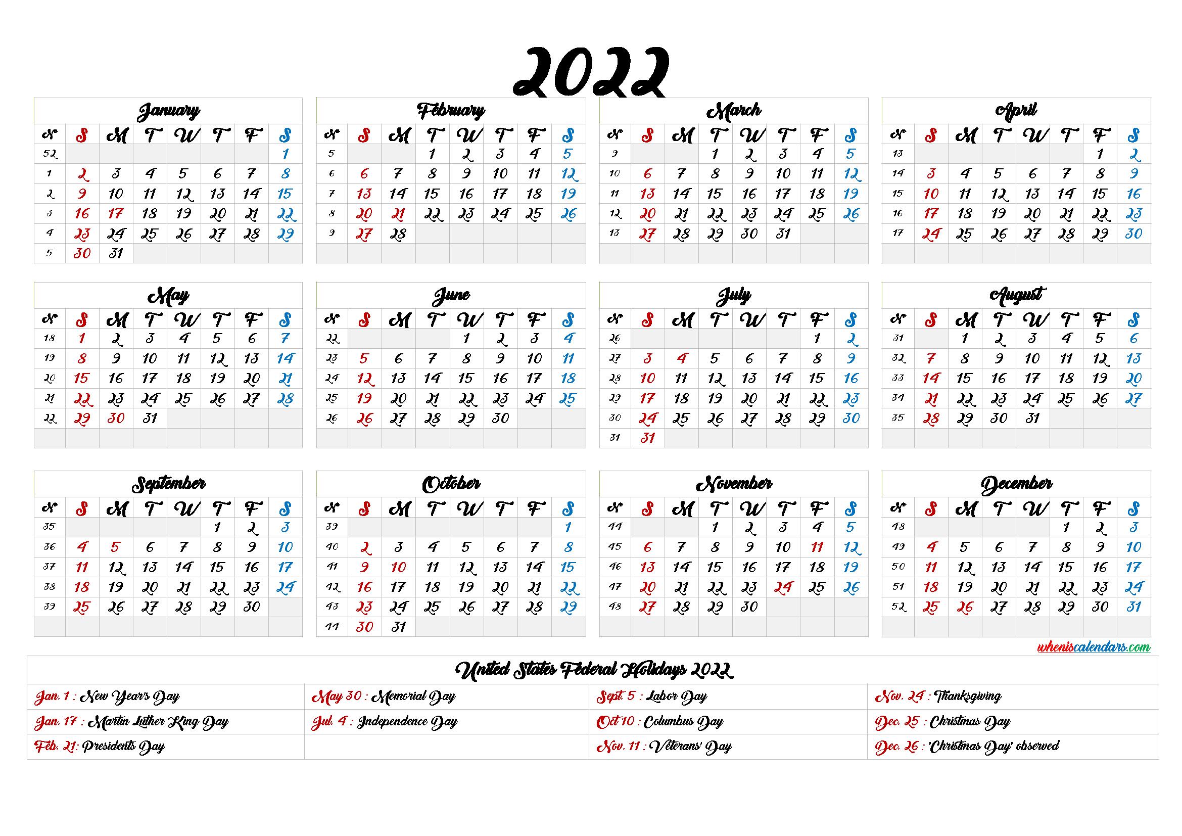 Free 2022 Printable Calendar with Week Numbers