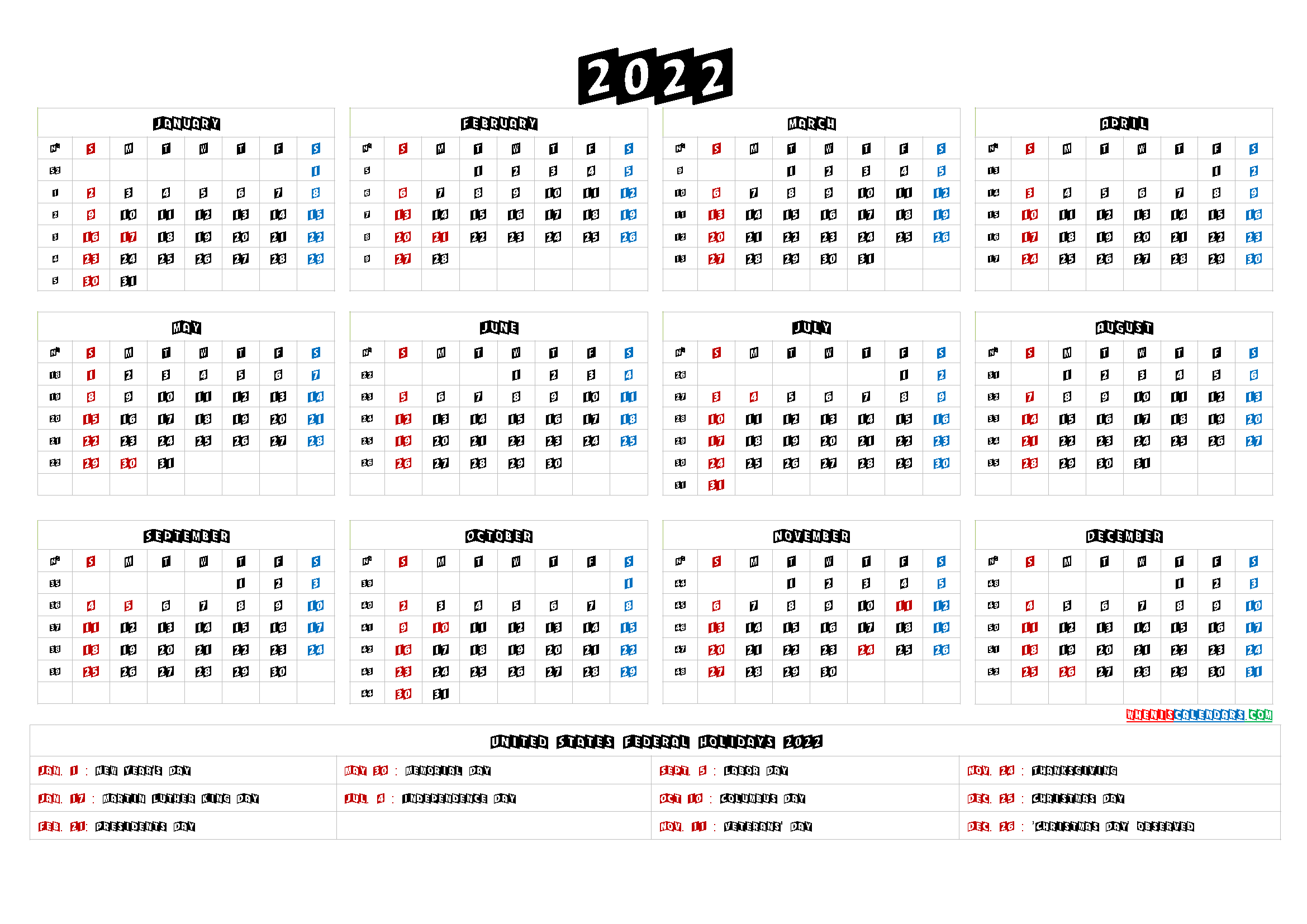 Free Printable Yearly Calendar 2022