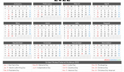 2022 Calendar Printable with Holidays