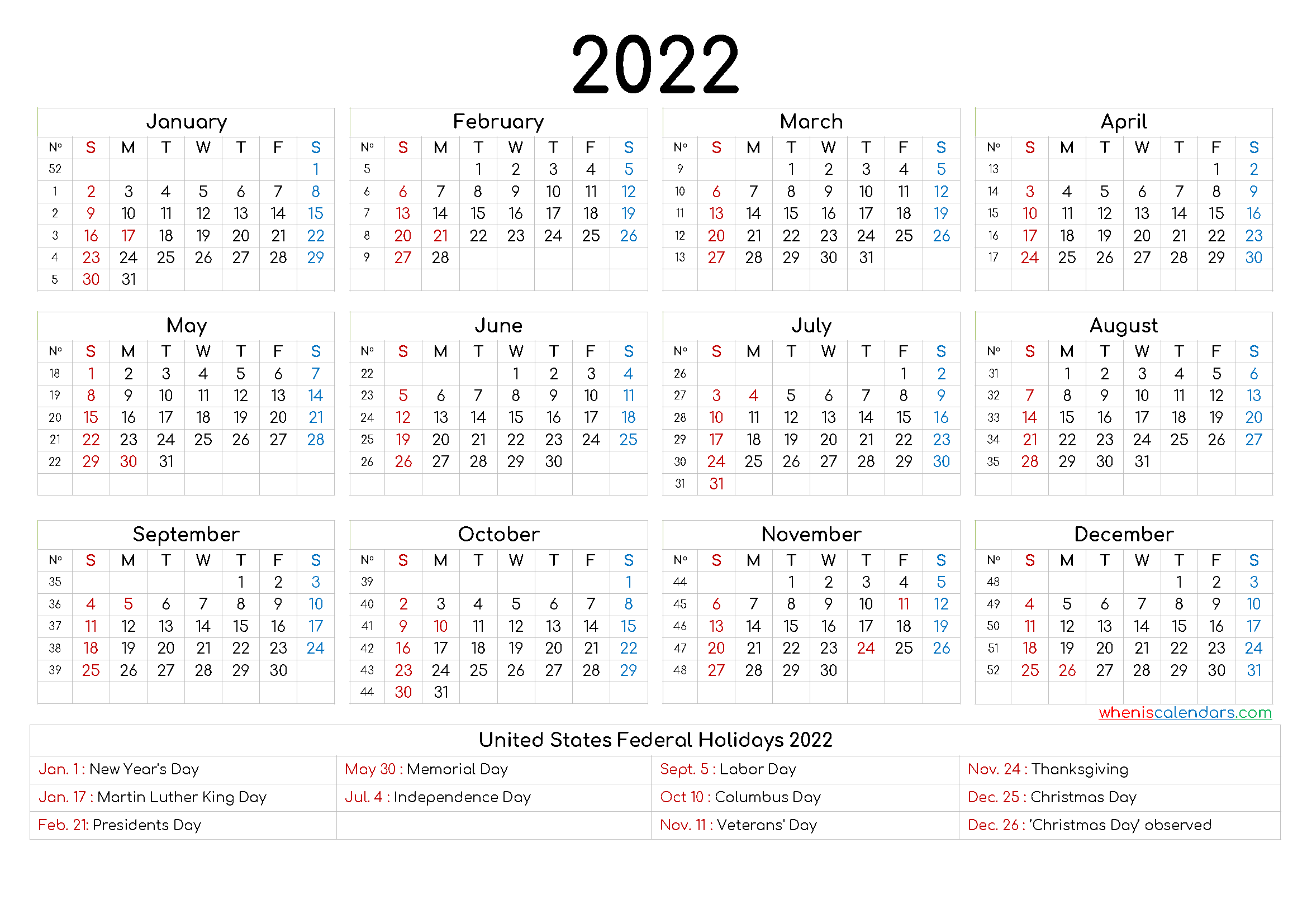Free Printable 2022 Calendar with Holidays