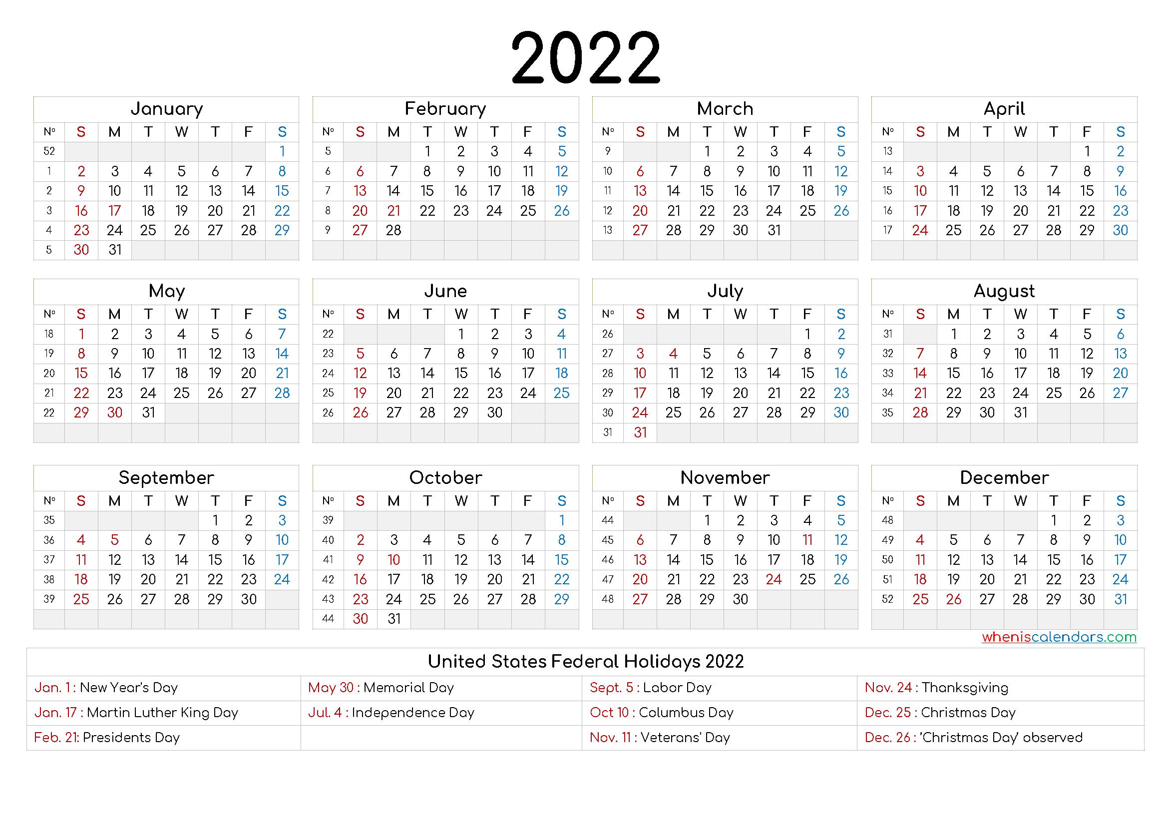 2022 Calendar Printable pdf