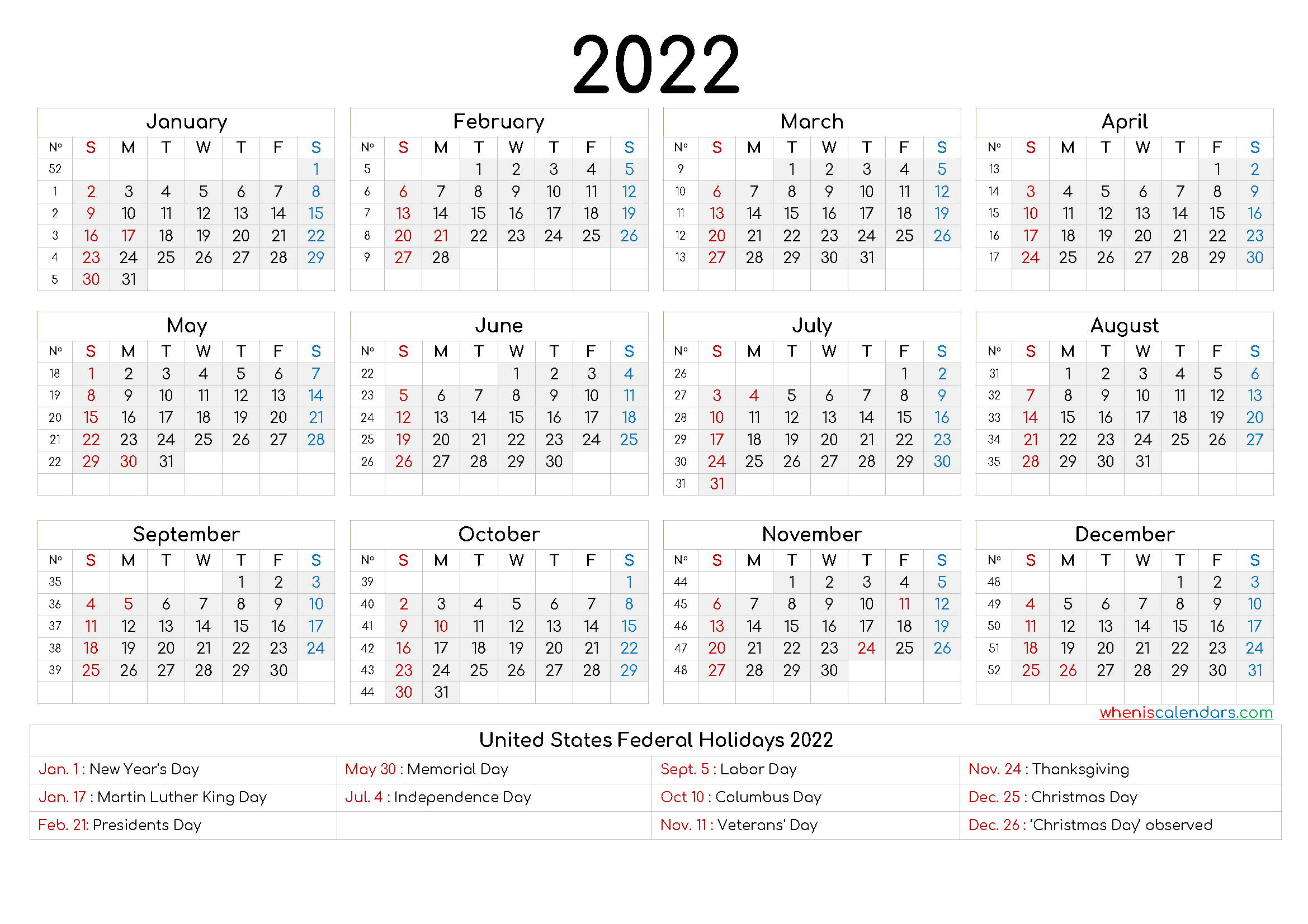 2022 Yearly Calendar template Word - 9 Templates - Free ...