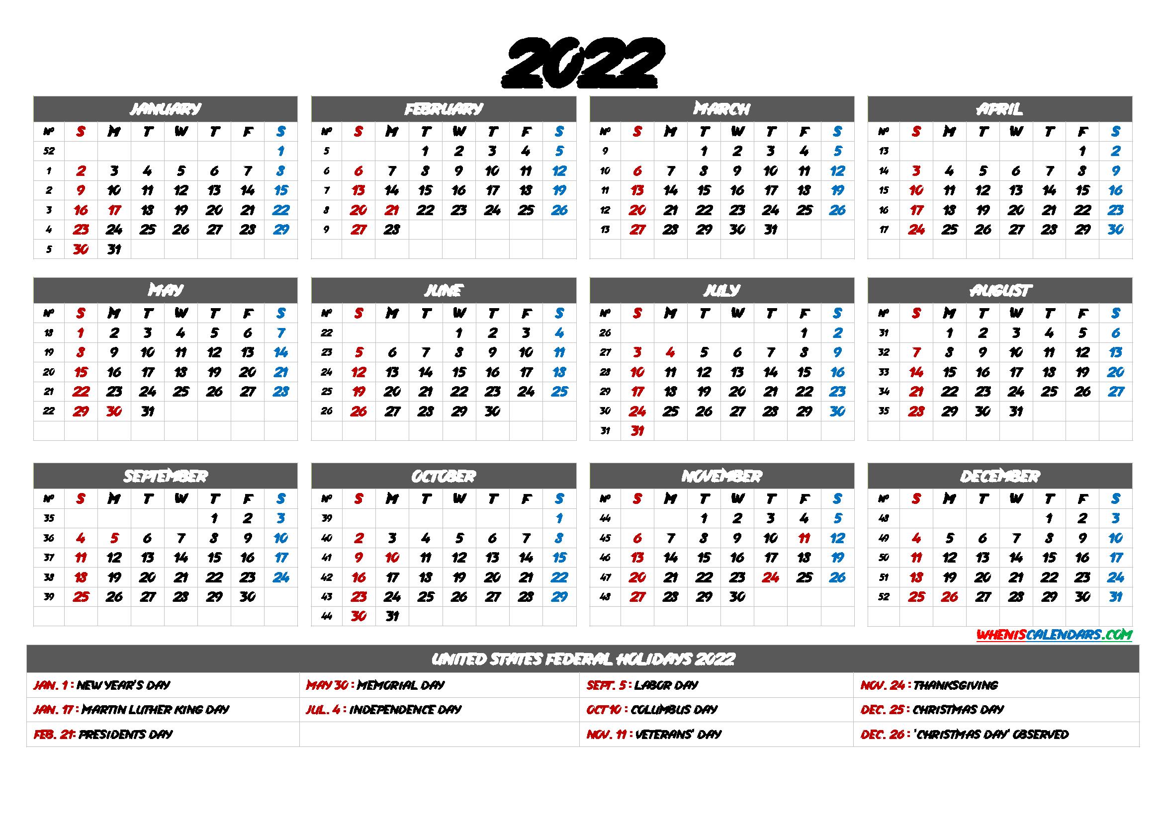 2022 Calendar with Week Numbers