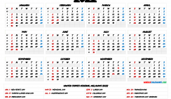 2022 Calendar with Holidays Printable
