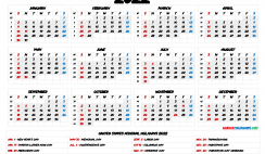 Printable 2022 Calendar with Holidays