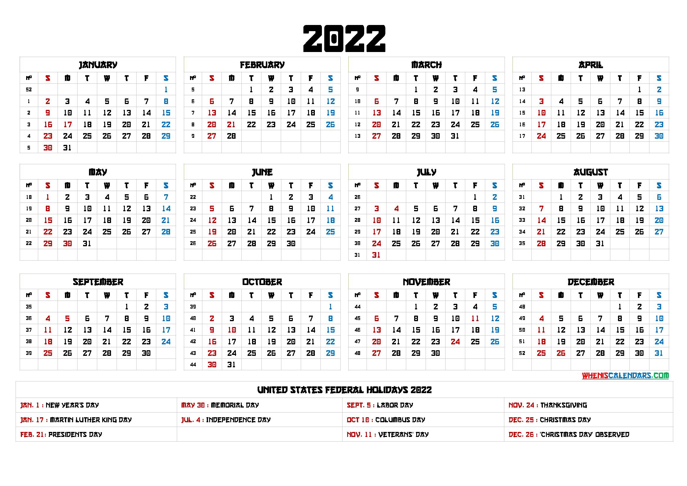 Free Printable 2022 Calendar Templates
