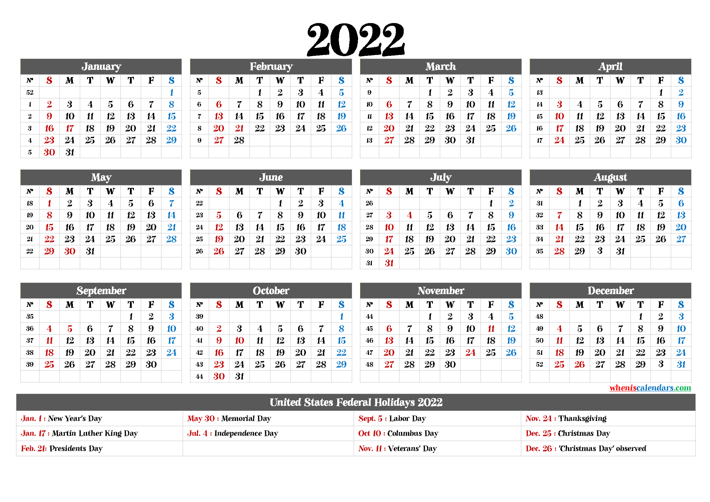 Printable 2022 Yearly Calendar