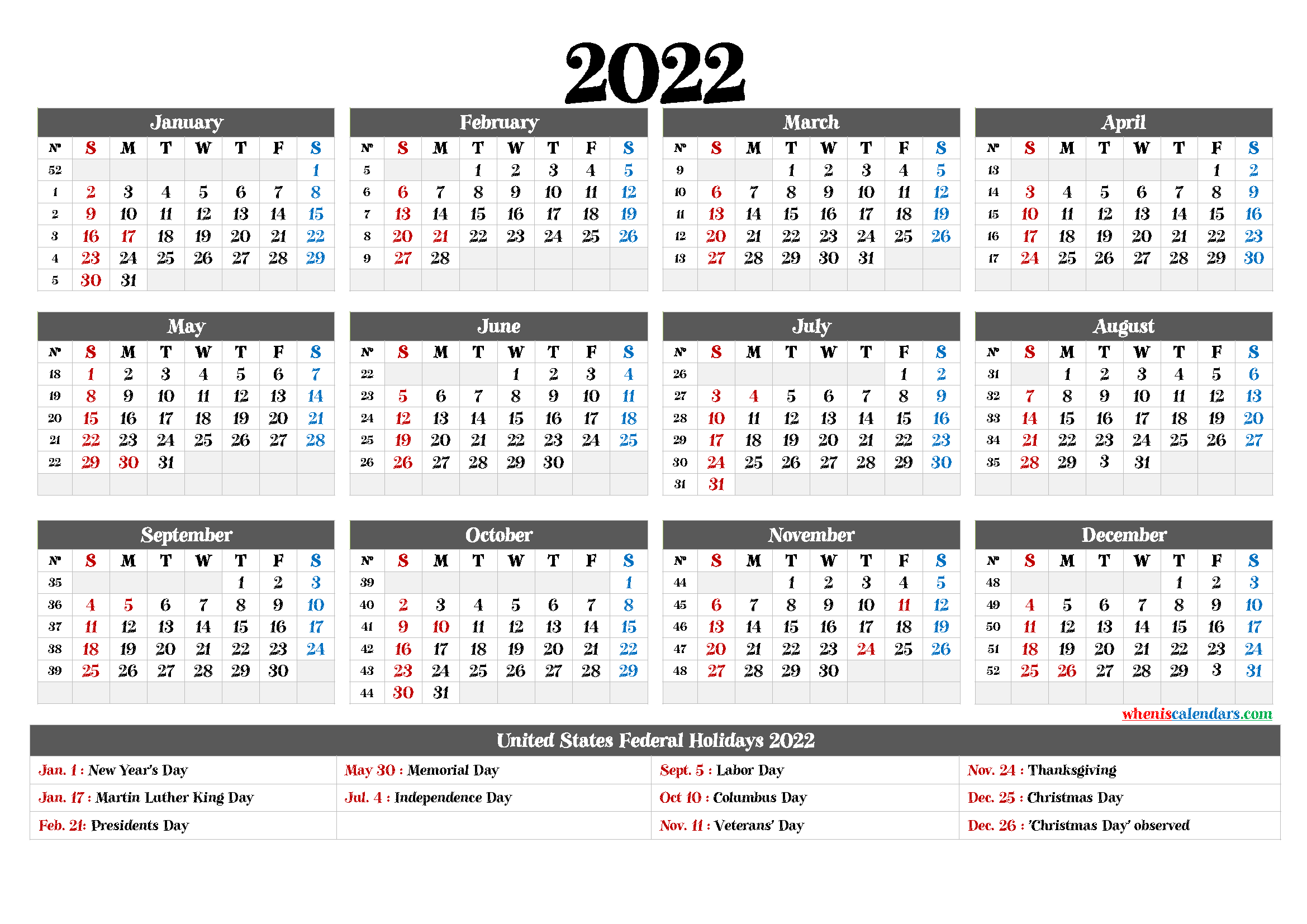 Free Printable 2022Yearly Calendar