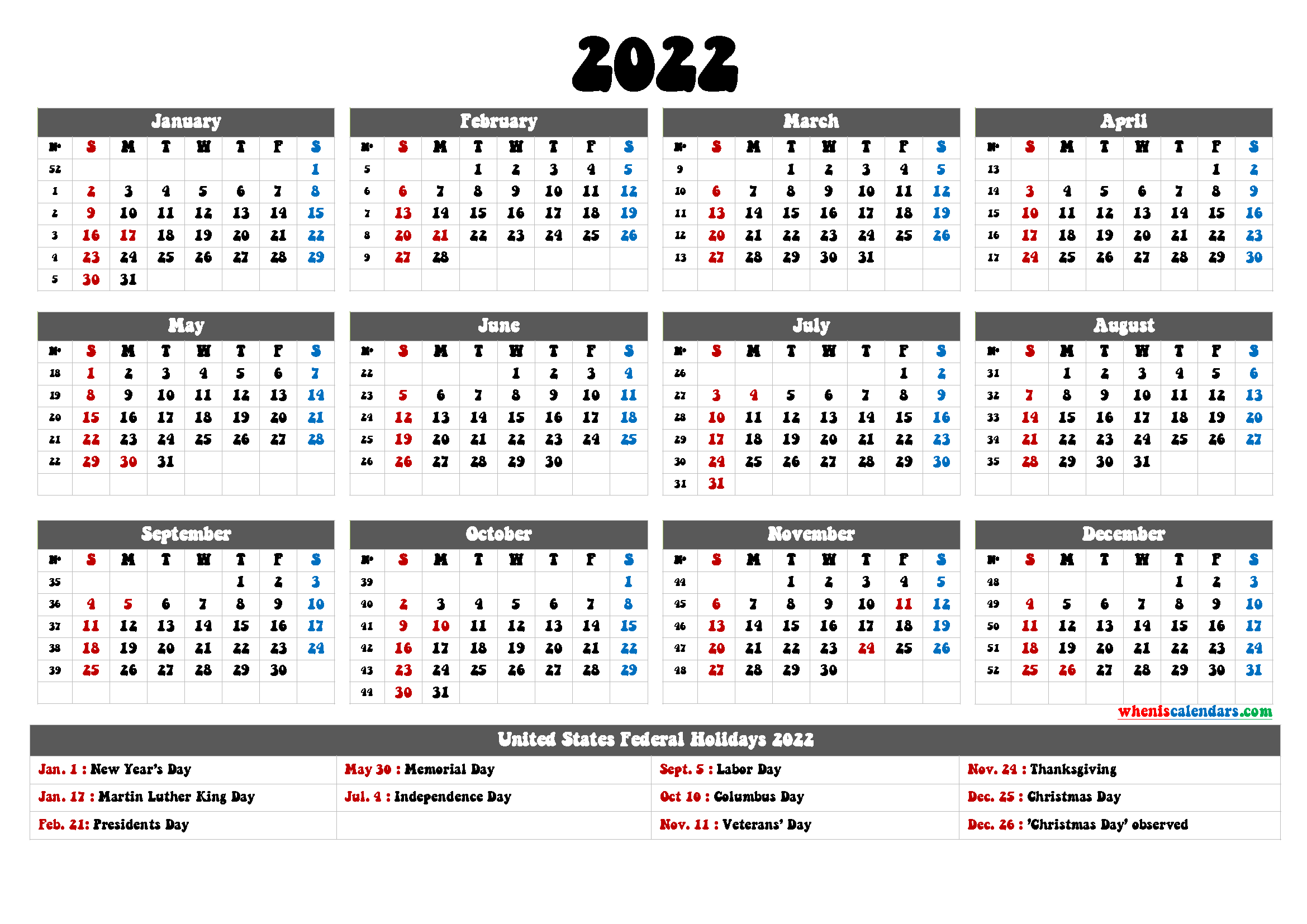 Printable 2022 Calendar with Holidays in U.S.