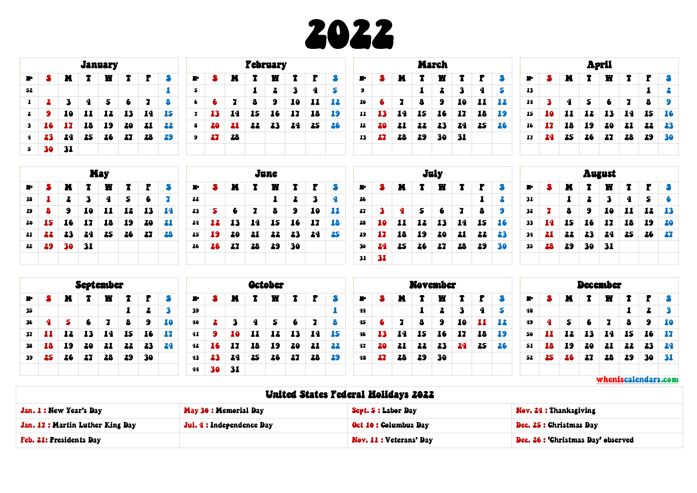 2022 Calendar with Holidays Printable - 9 Templates | Free ...