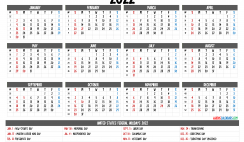 Free Printable Calendar 2022 with Holidays