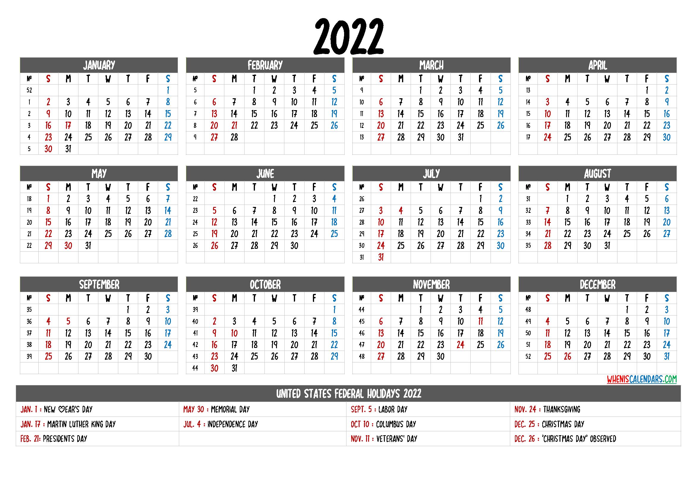 Free Printable Calendar 2022 with Holidays