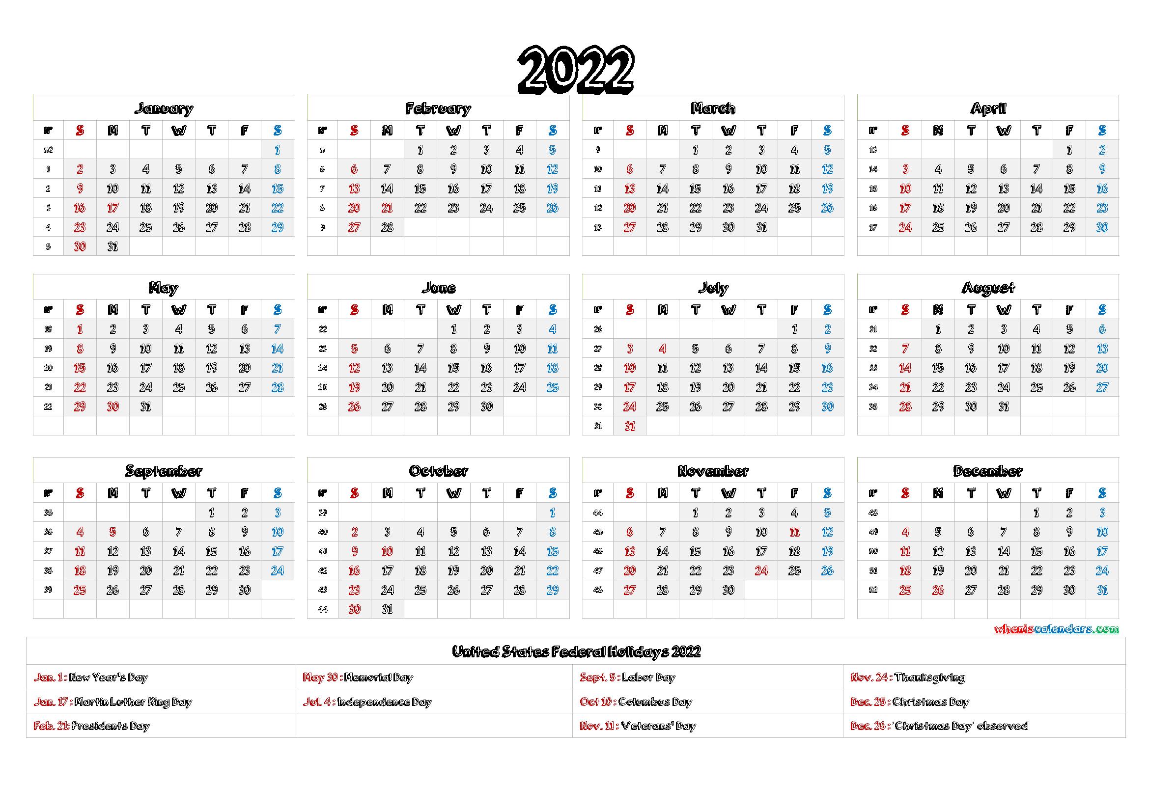 2022 Calendar with Holidays Printable
