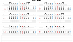 Free Printable 2022 Yearly Calendar