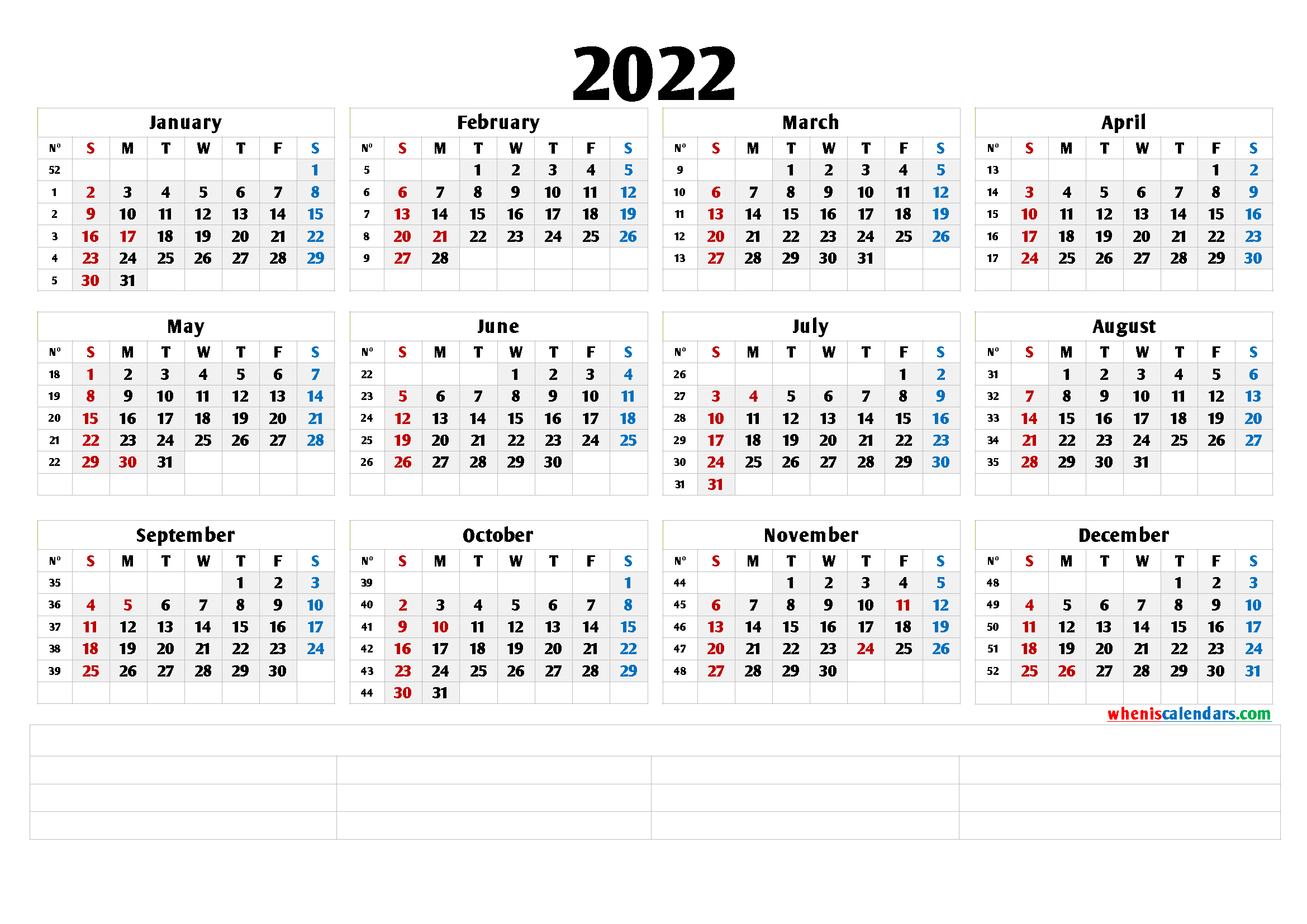 Free Printable 2022 Yearly Calendar (6 Templates) - Free ...