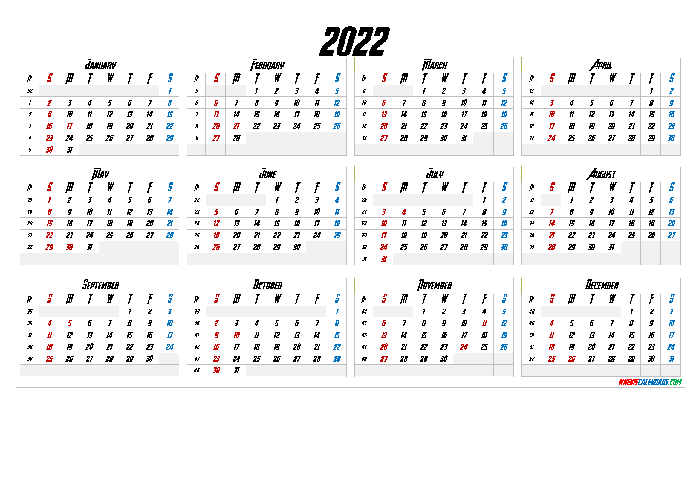 2022 Free Yearly Calendar Template Word (6 Templates)