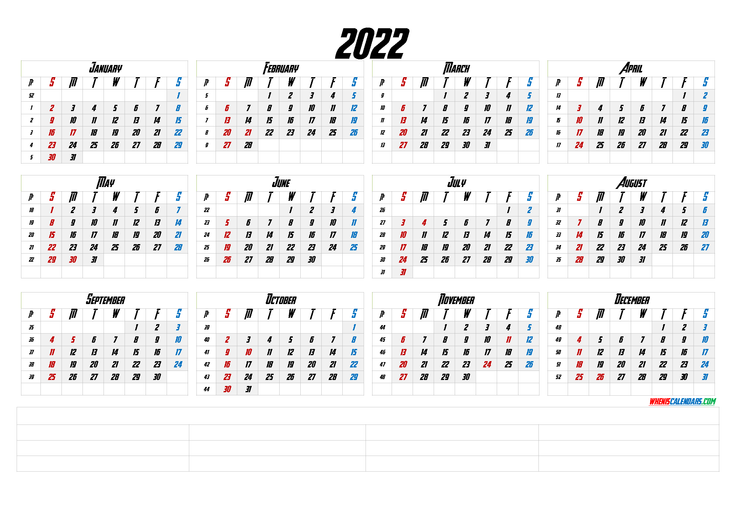 12 Month Calendar Printable 2022 (6 Templates) - Free ...
