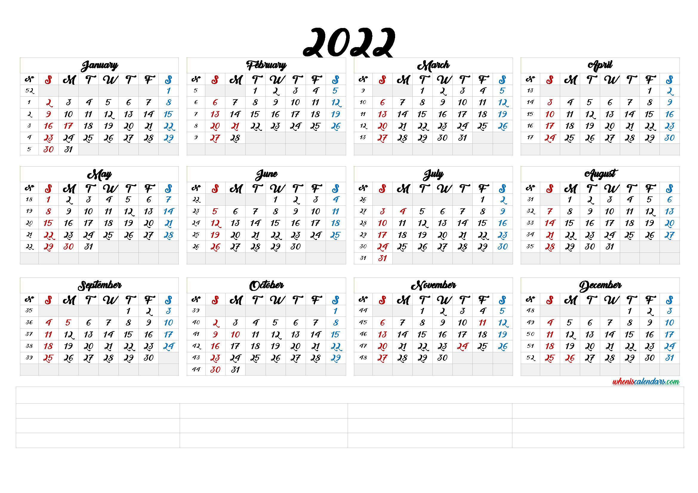 2022 Annual Calendar Printable (6 Templates) - Free ...