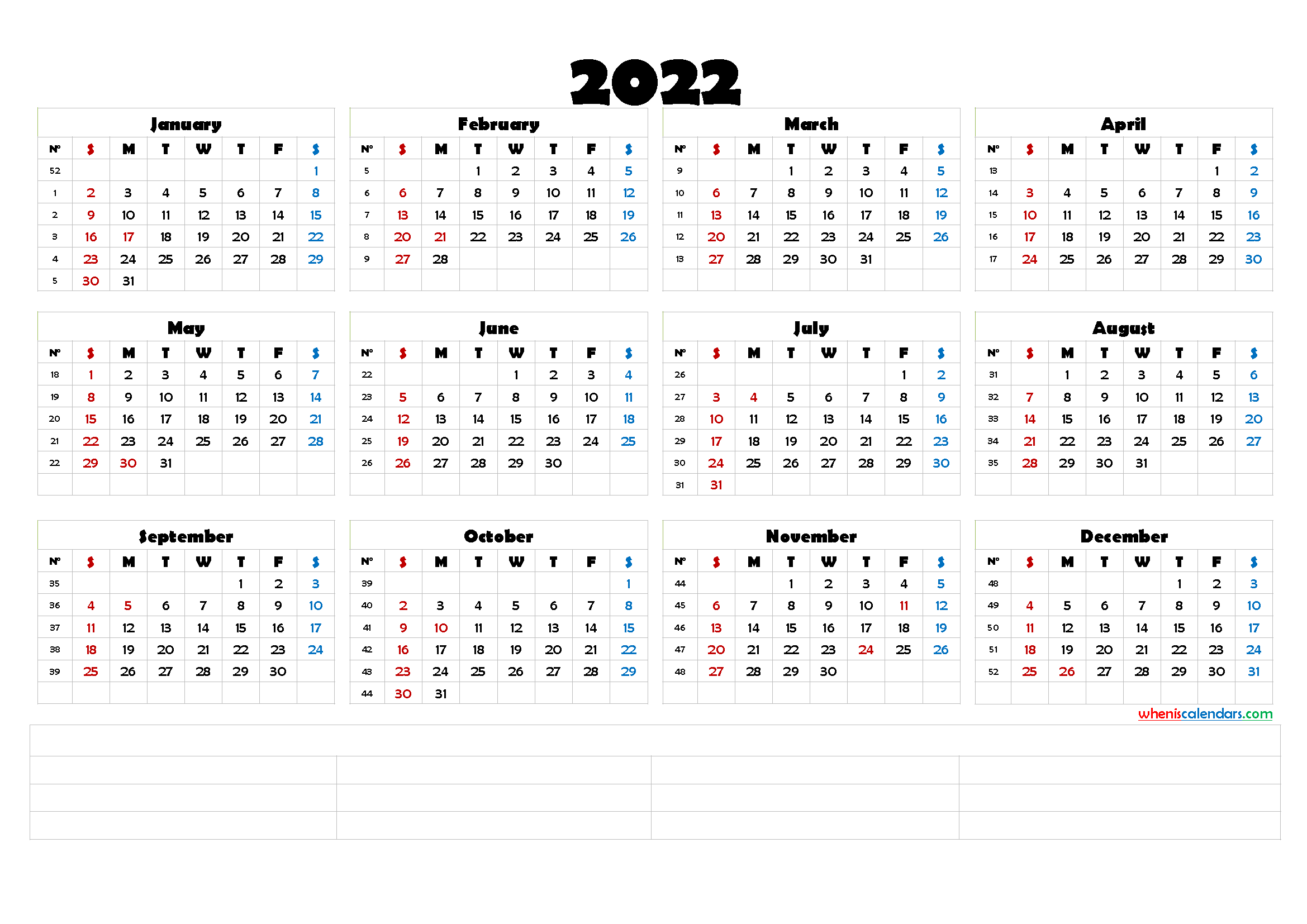 12 Month Calendar Printable 2022