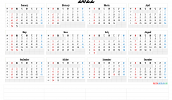 2022 Annual Calendar Printable