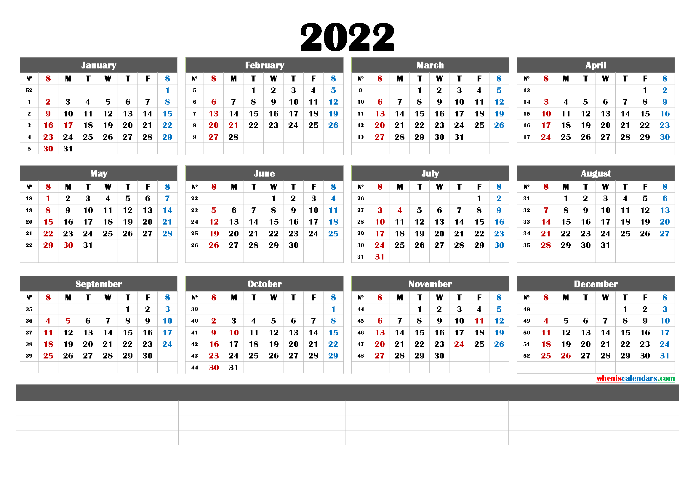 Printable 2022 Calendar by Year (6 Templates) - Free ...