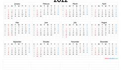 2022 12 Month Calendar Printable