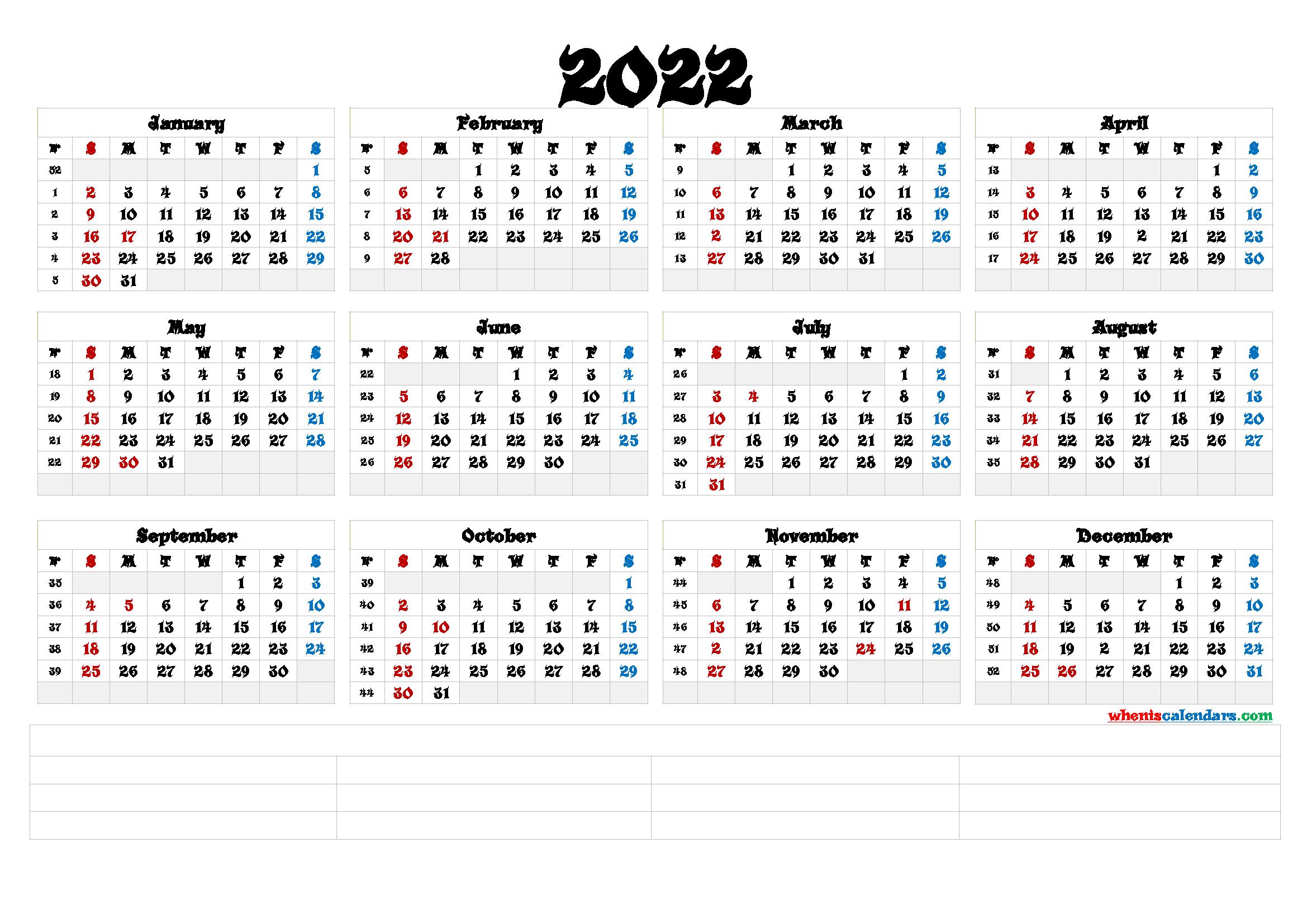 Free Printable 2022 Calendar Templates [Premium Templates ...