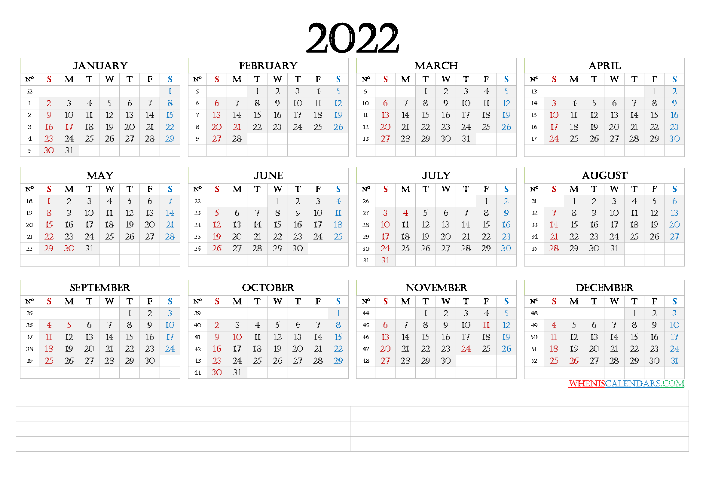 Downloadable 2022 Monthly Calendar