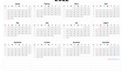 2022 Printable Yearly Calendar with Week Numbers