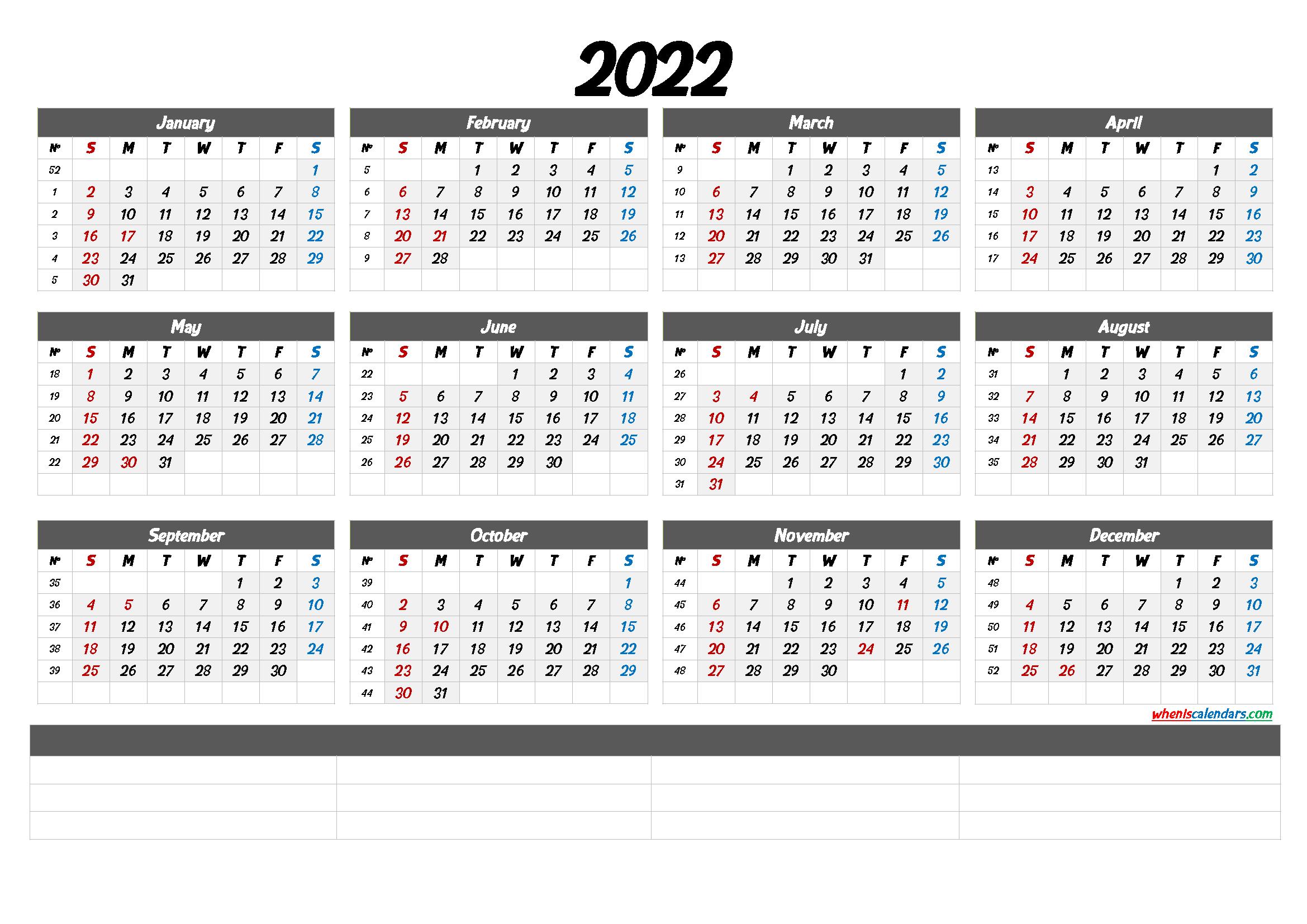 Printable Calendar Templates 2022