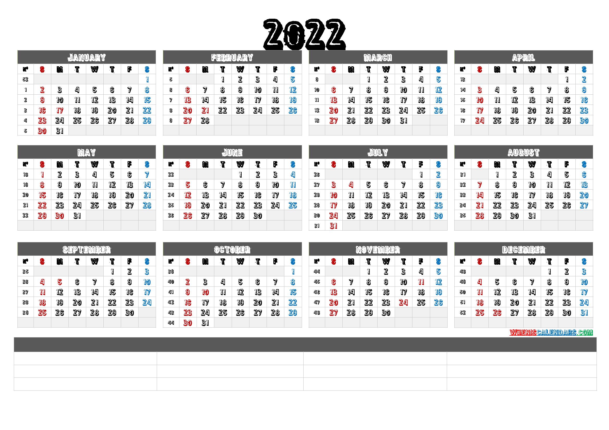 Free Printable Calendar Templates 2022