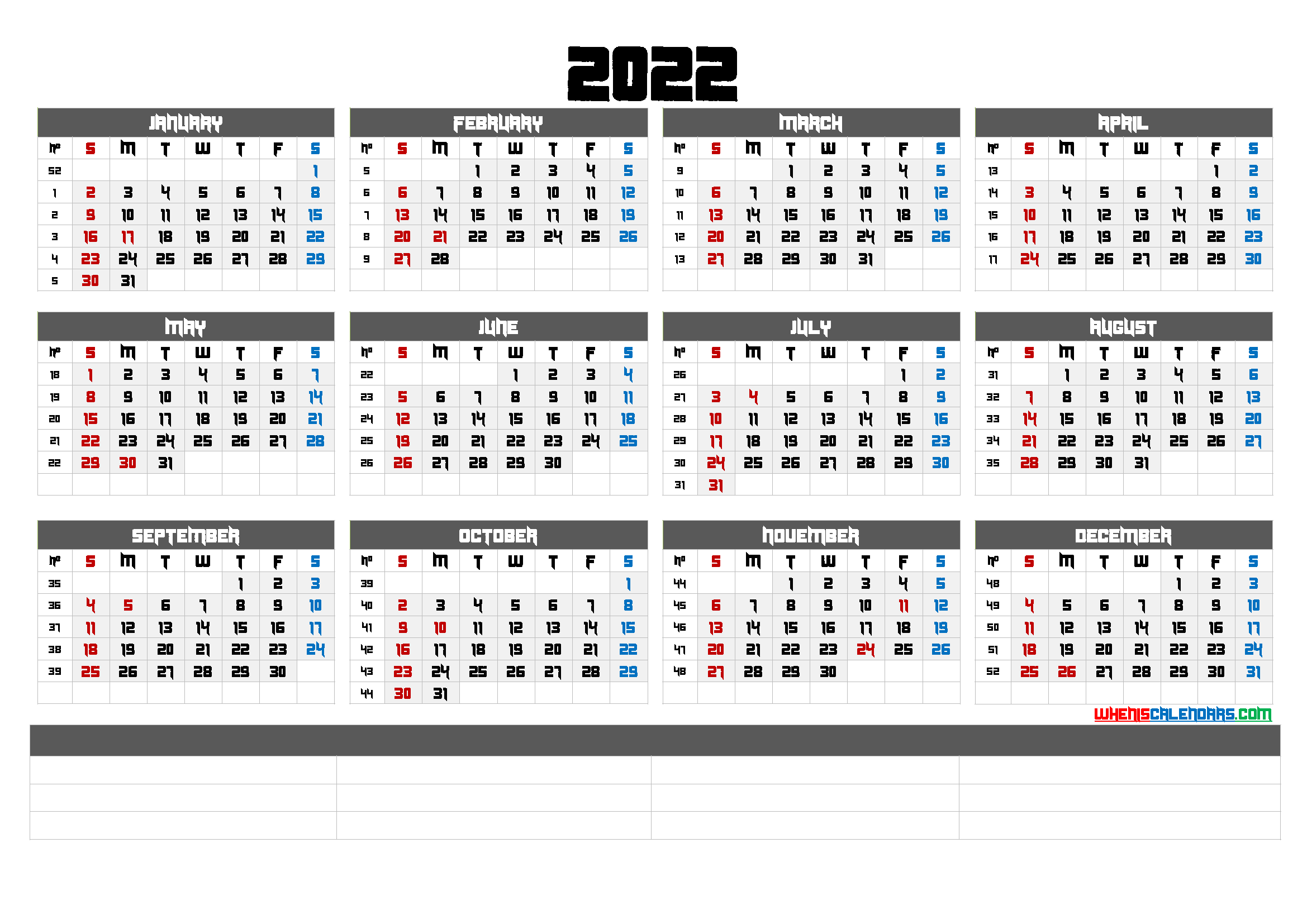 Downloadable 2022 Monthly Calendar (6 Templates)