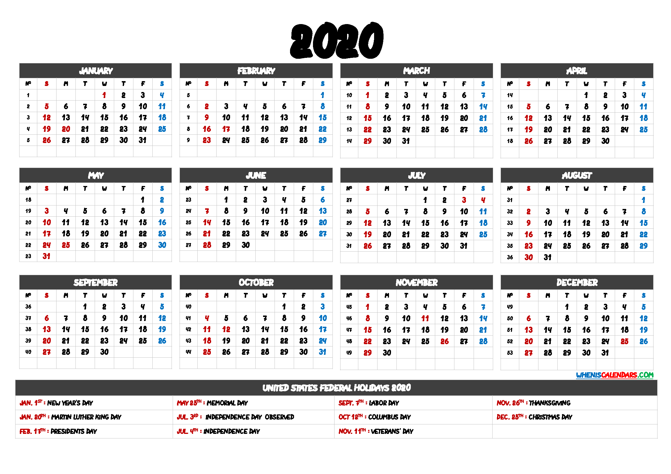 2020 Calendar Printable pdf