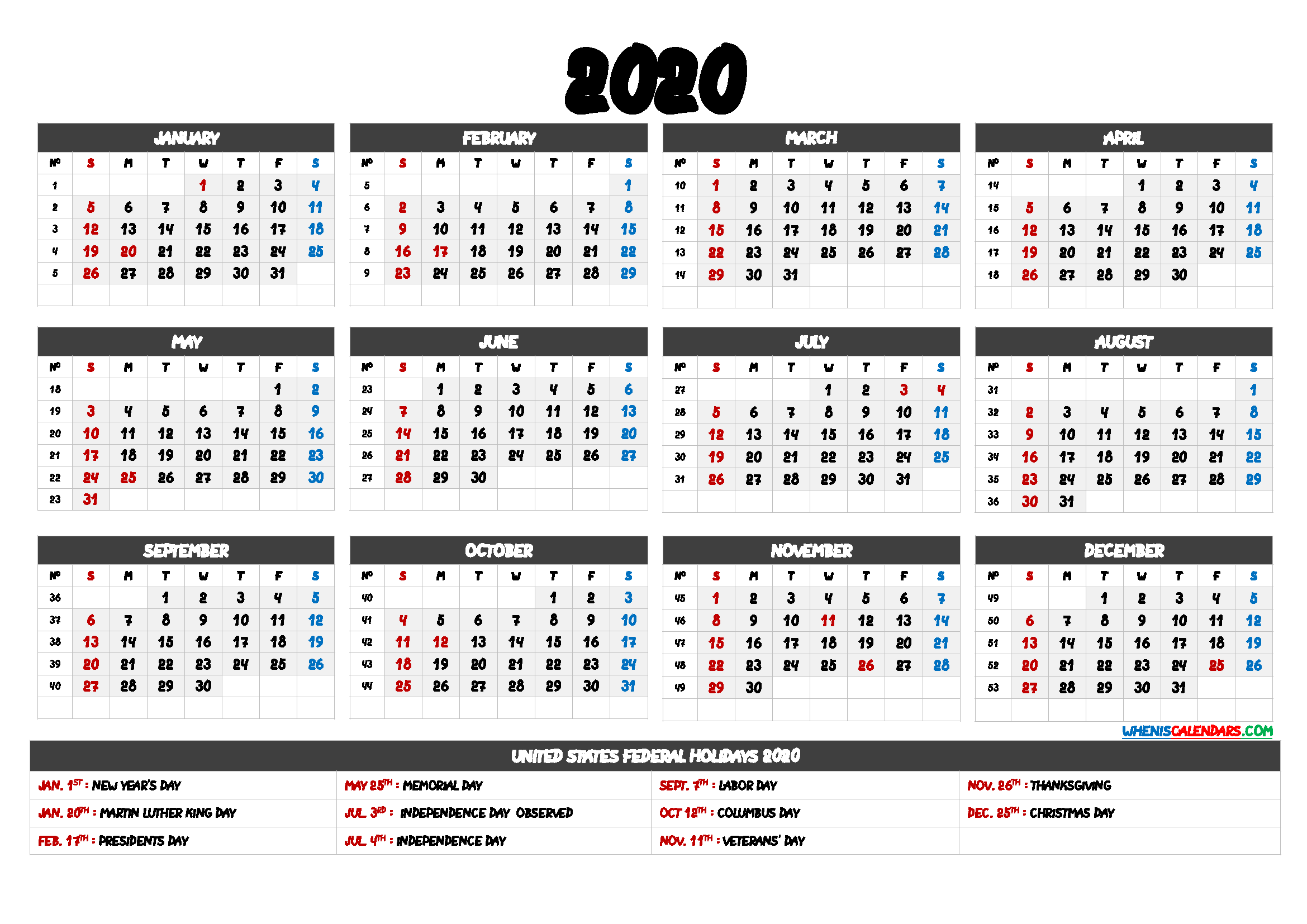 2020 Calendar with Week Numbers