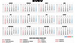 2020 One Page Calendar Printable