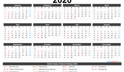 Printable Calendar 2020 with Holidays